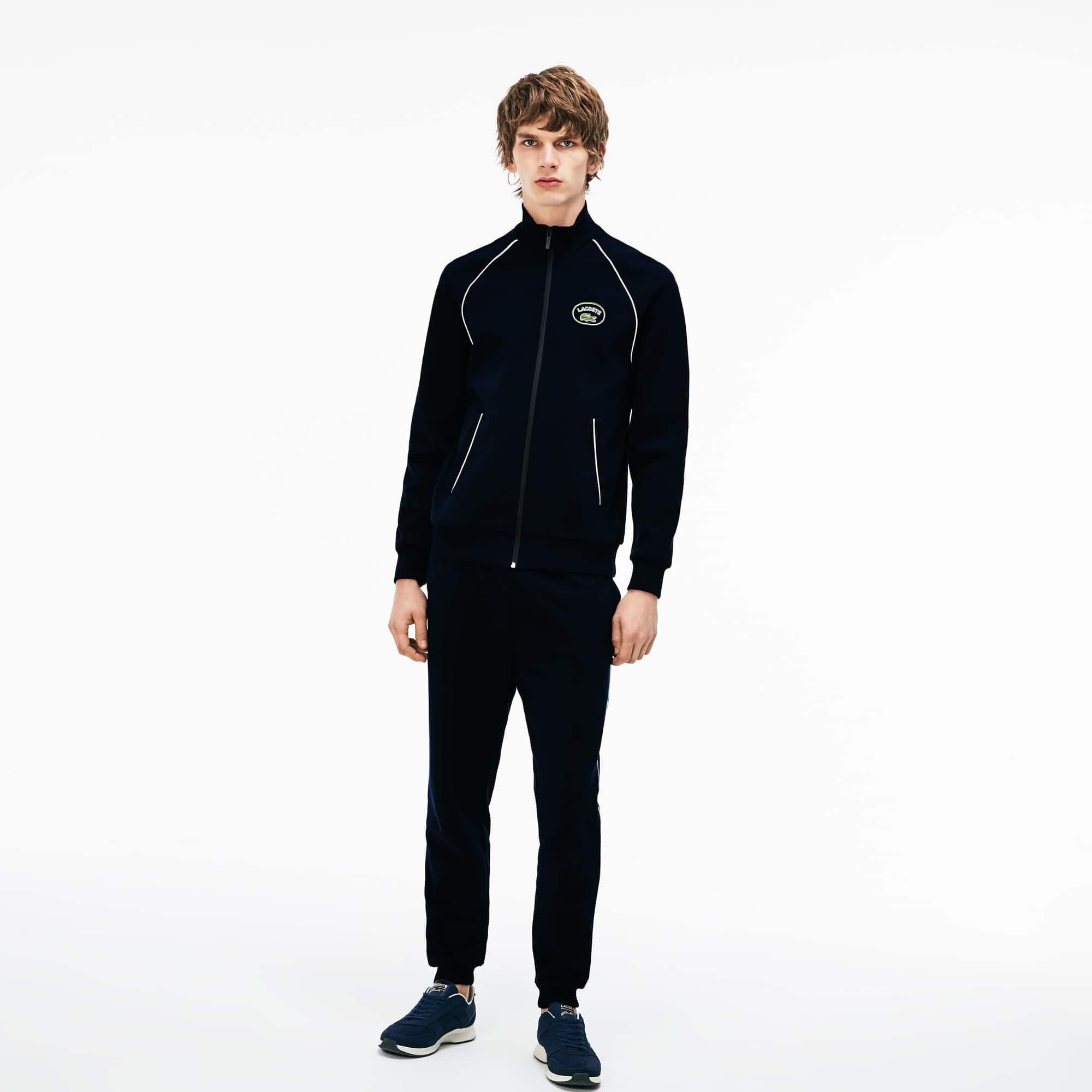 Piping Zippé Montant Milano Col Sweatshirt En Coton Avec tsQrdhC