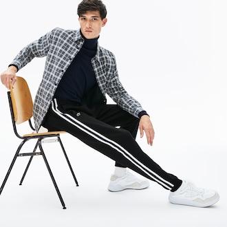 라코스테 플리스 스트라이프 트랙팬츠 - 블랙 Lacoste Mens Fleece Side Stripe Trackpants