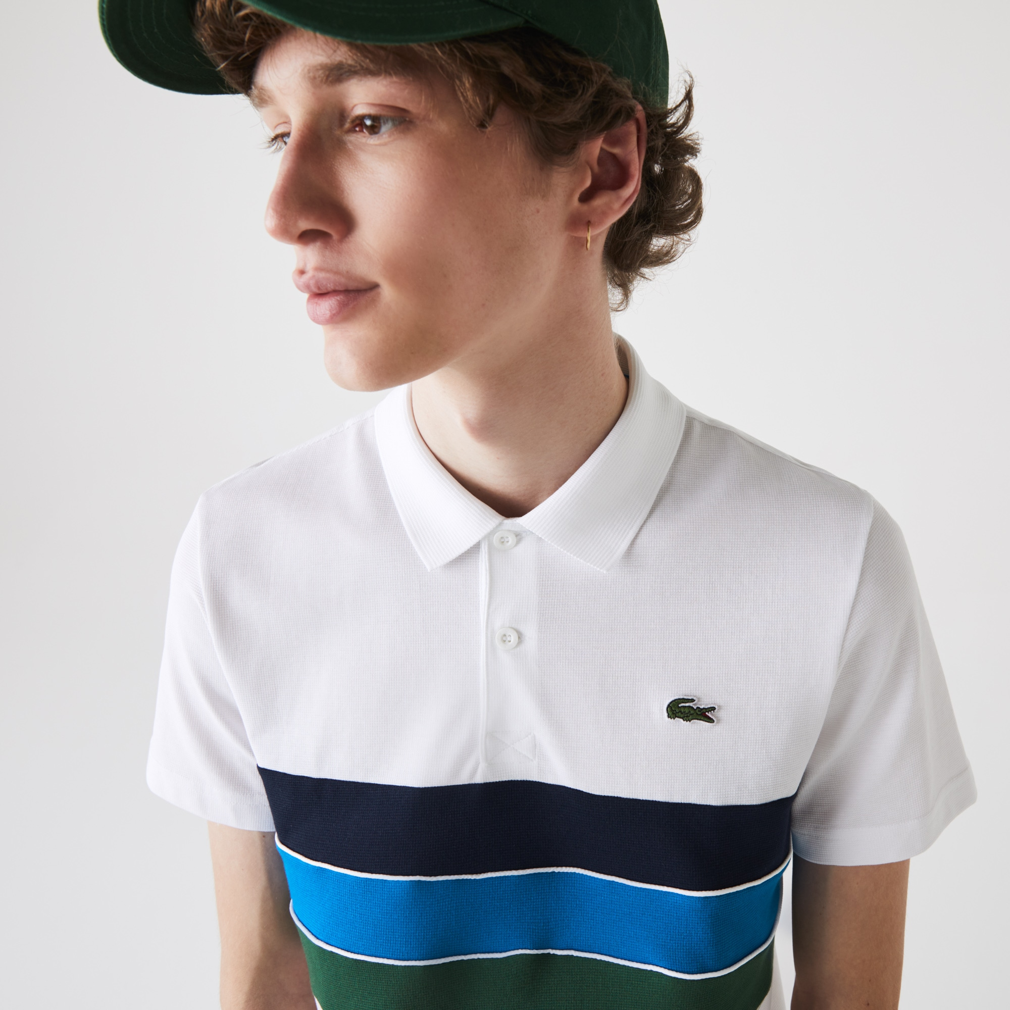 Lacoste Mens SPORT Tricolor Paneled Lightweight Cotton Polo Shirt