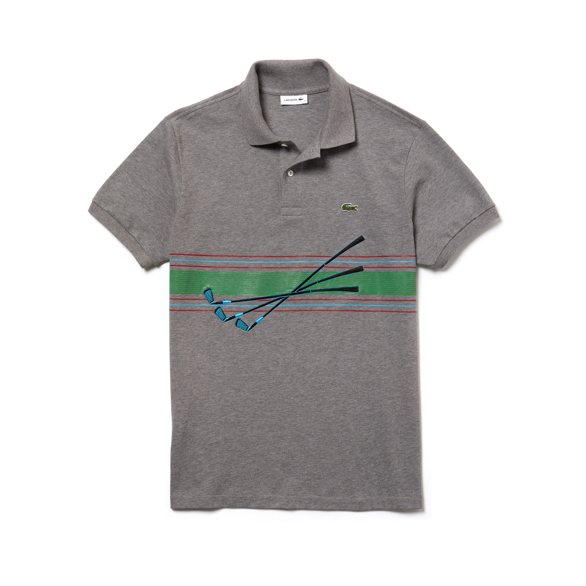 Mens 라코스테 Lacoste Fashion Show Embroidered Cotton Pique Polo,silver grey chine