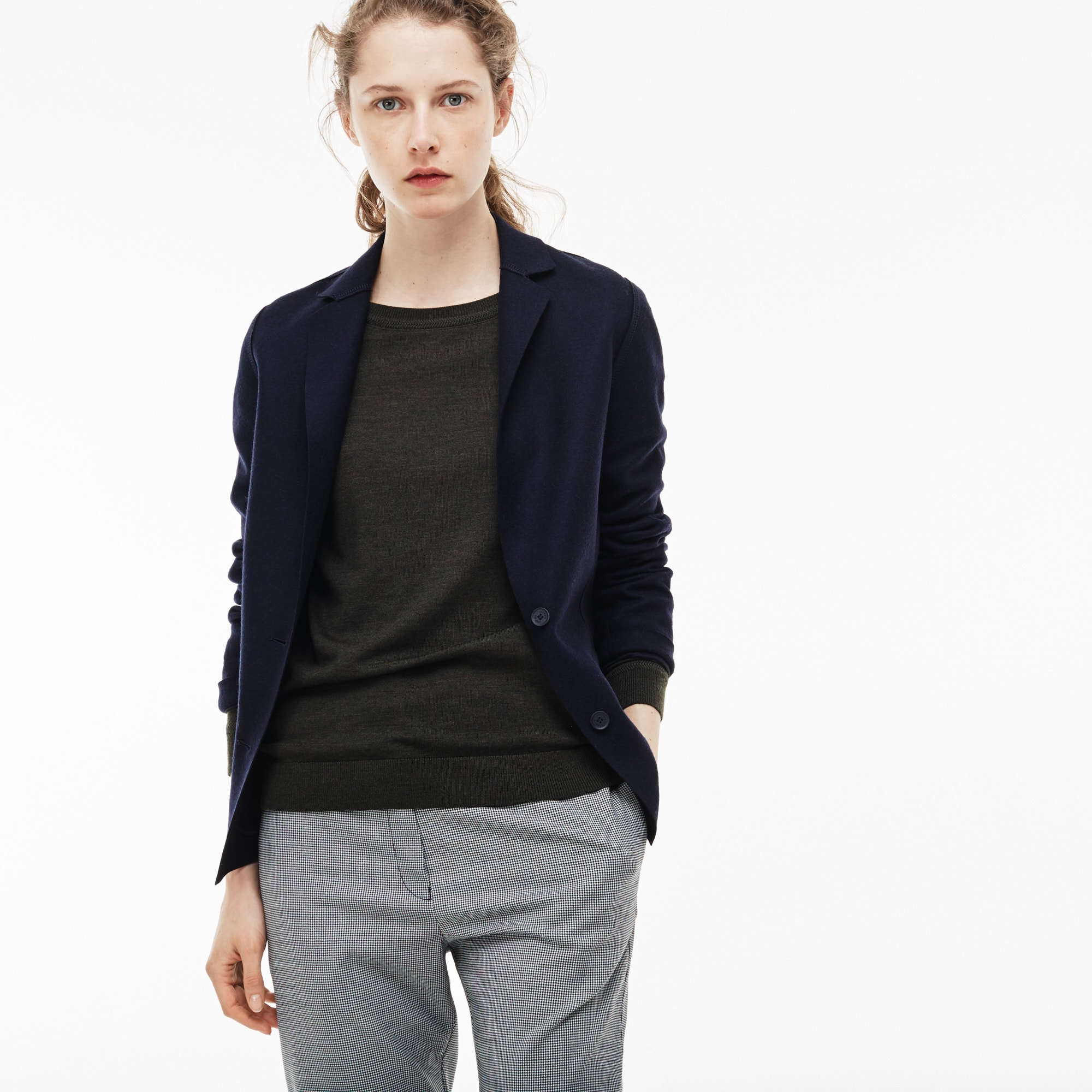 Women'S Buttoned Overstitched Wool Jacket in Navy Chine from Lacoste