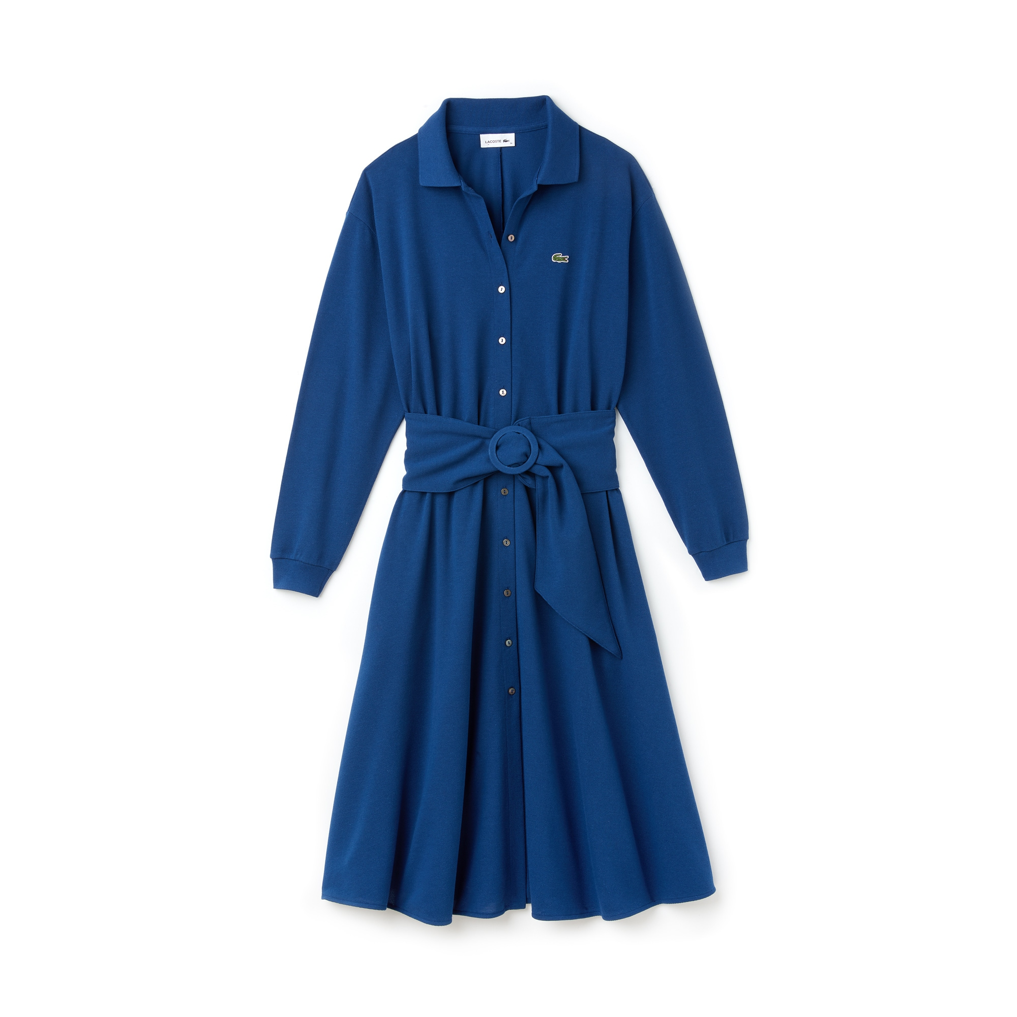 라코스테 벨트 피케 원피스 블루 색상 Lacoste Womens Belted Cotton Petit Pique Shirt Dress,inkwell blue