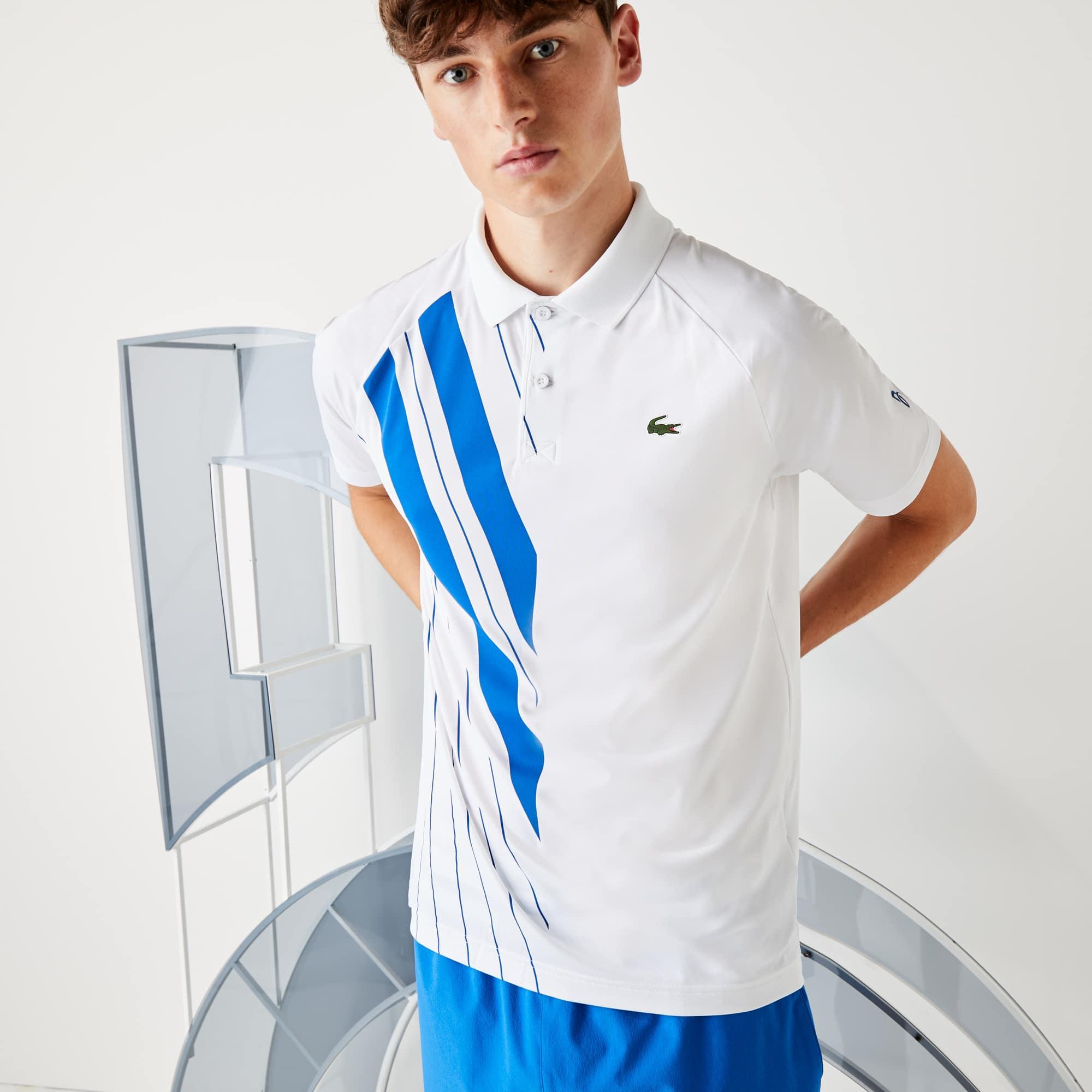 라코스테 X 노박 조코비치 폴로 셔츠 Lacoste Mens SPORT x Novak Djokovic Print Stretch Jersey Polo Shirt