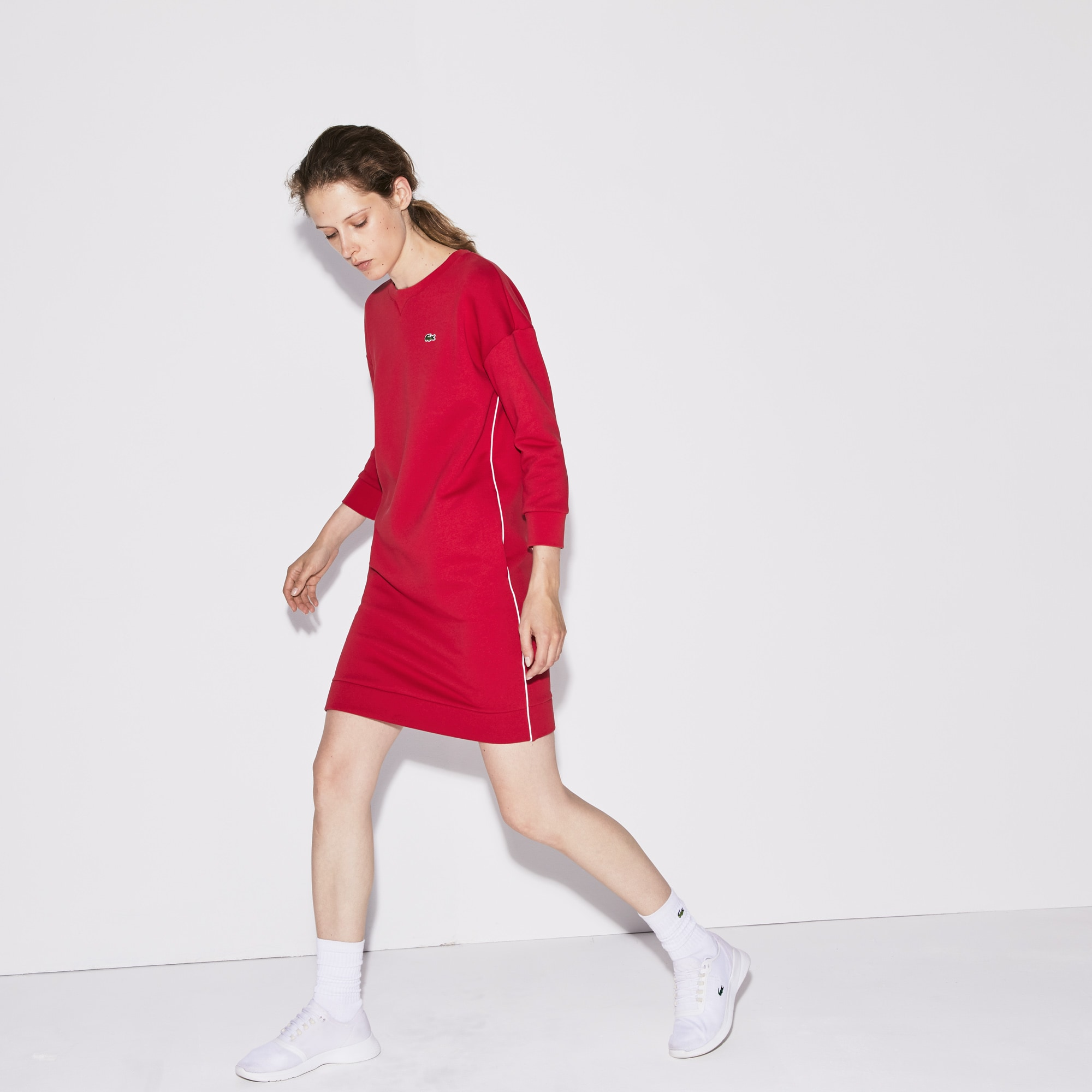 Women's SPORT Piped Fleece Tennis Sweatshirt Dress