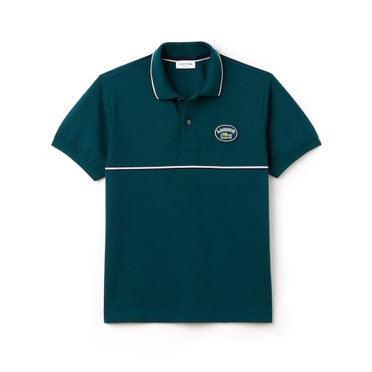 라코스테 Lacoste Mens Regular Fit Striped Accents Petit Pique Polo,Green / Navy Blue / White - DYX (Selected colour)