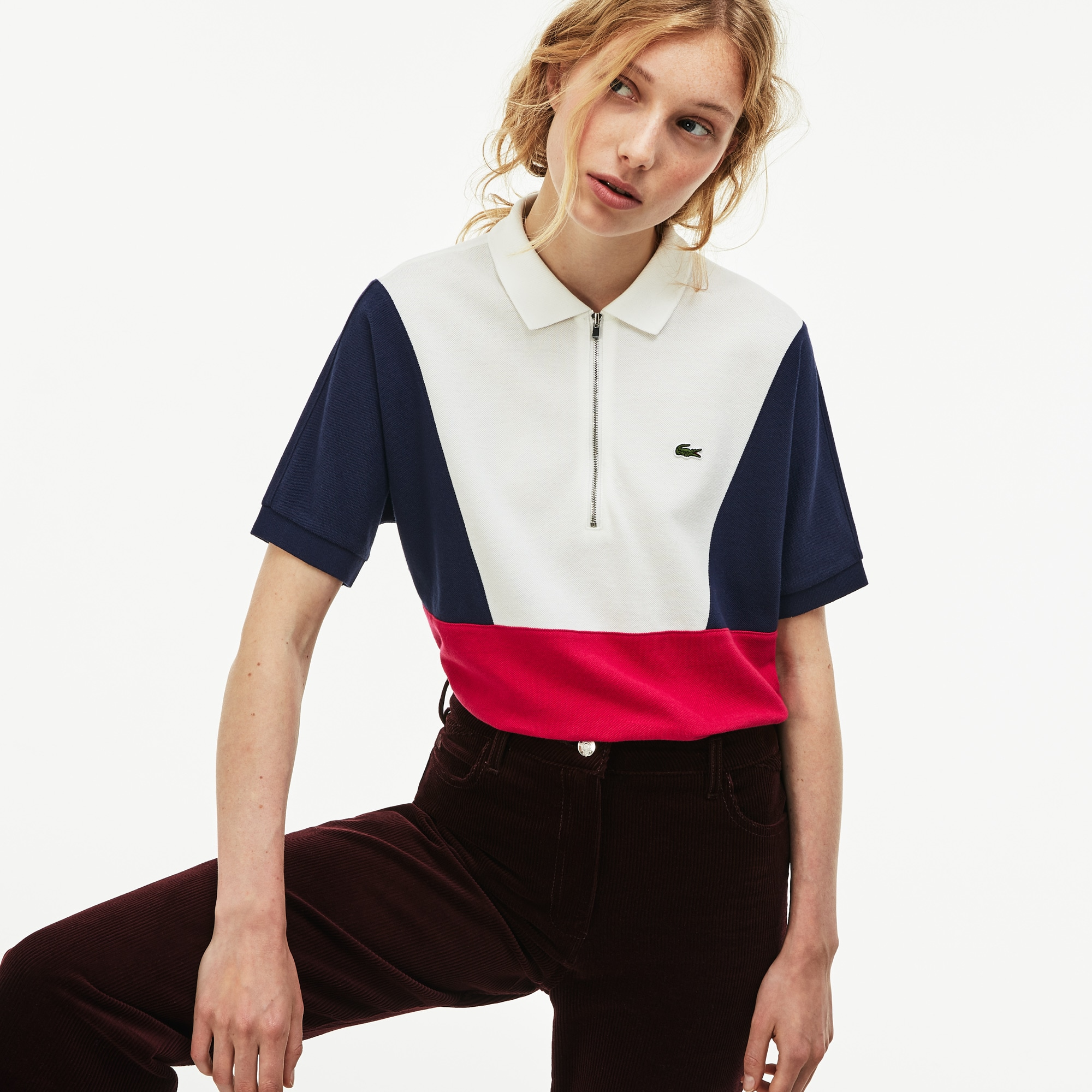 라코스테 우먼 폴로셔츠 Lacoste Womens Zip Neck Colorblock Terrycloth Pique Polo,White / Navy Blue / Red