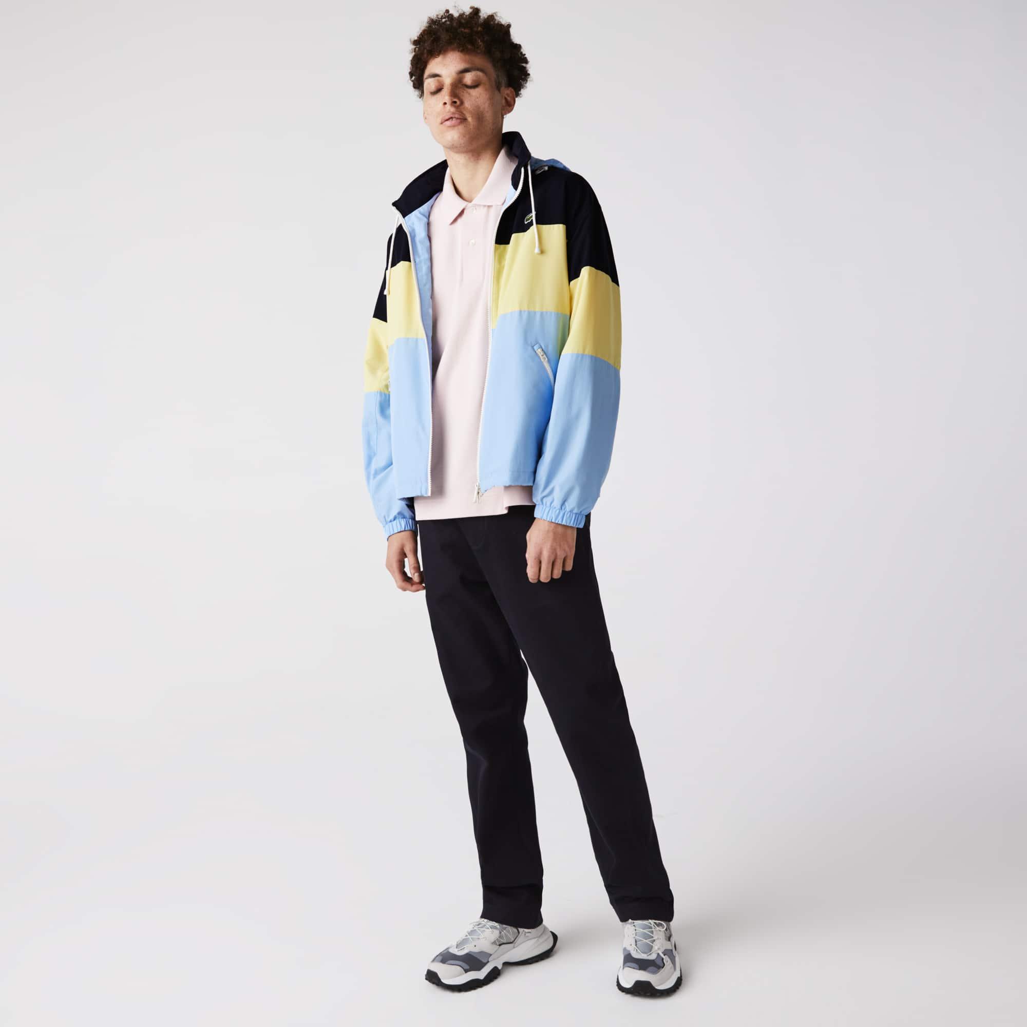 라코스테 맨 발수 컬러블록 자켓 Lacoste Men's Concealed Hood Water-Resistant Colorblock Jacket
