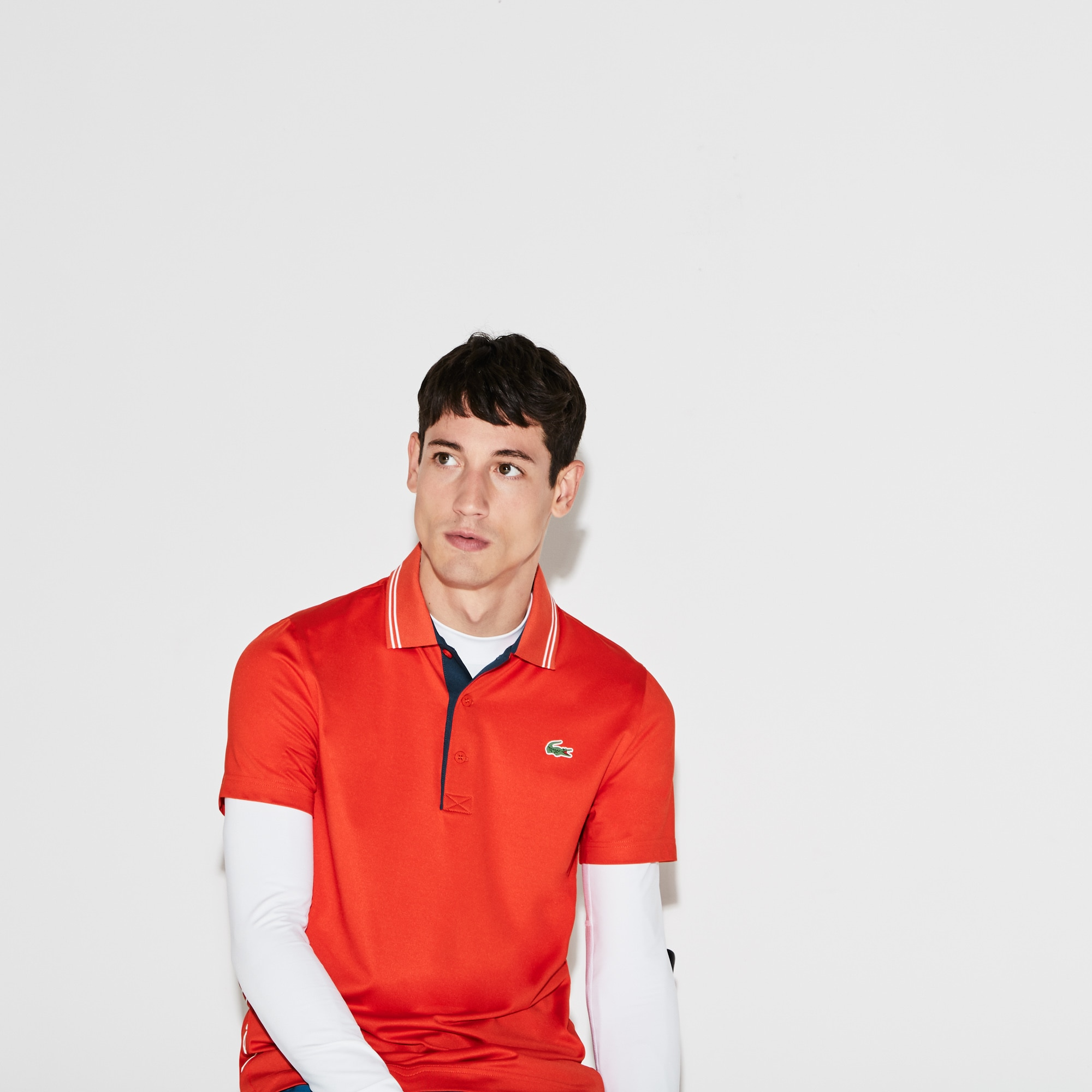 Men's  SPORT Lettering Stretch Technical Jersey Golf Polo Shirt
