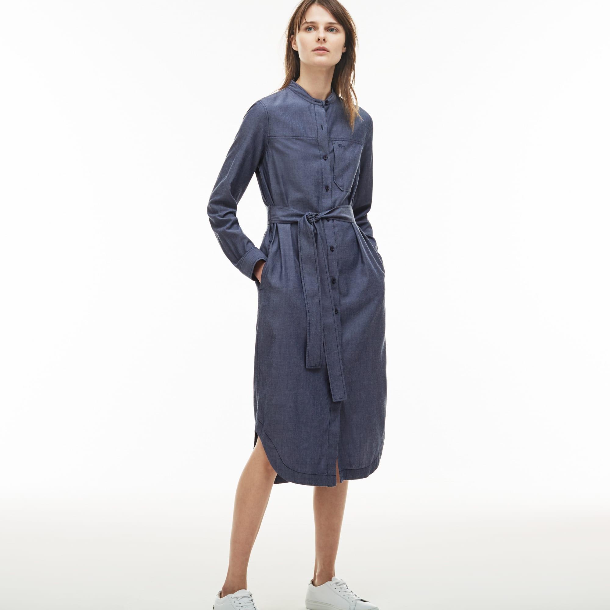 Women's Mao Collar Cotton Chambray Long Shirt Dress