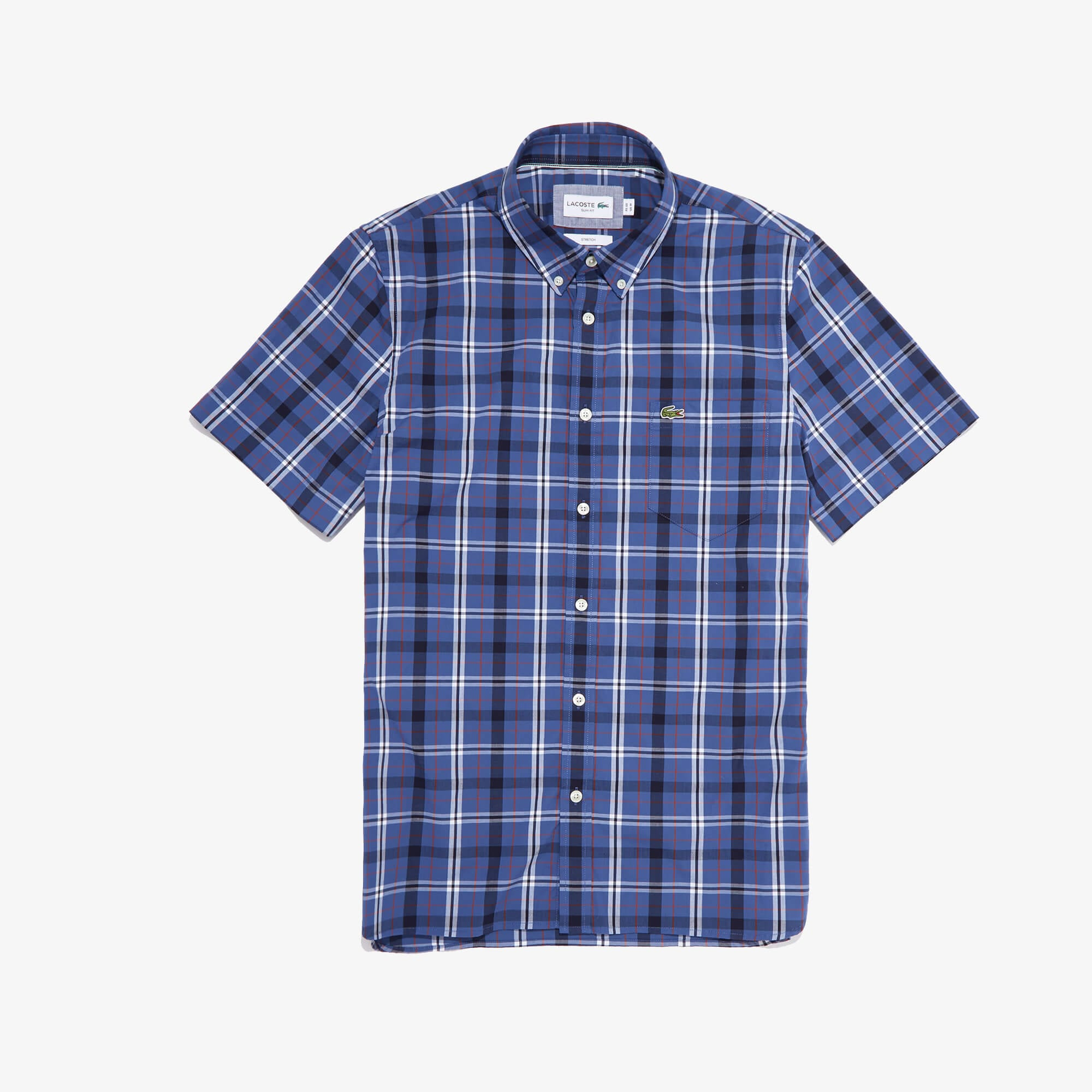 Men's Short Sleeve Stretch Plaid Poplin Shirt