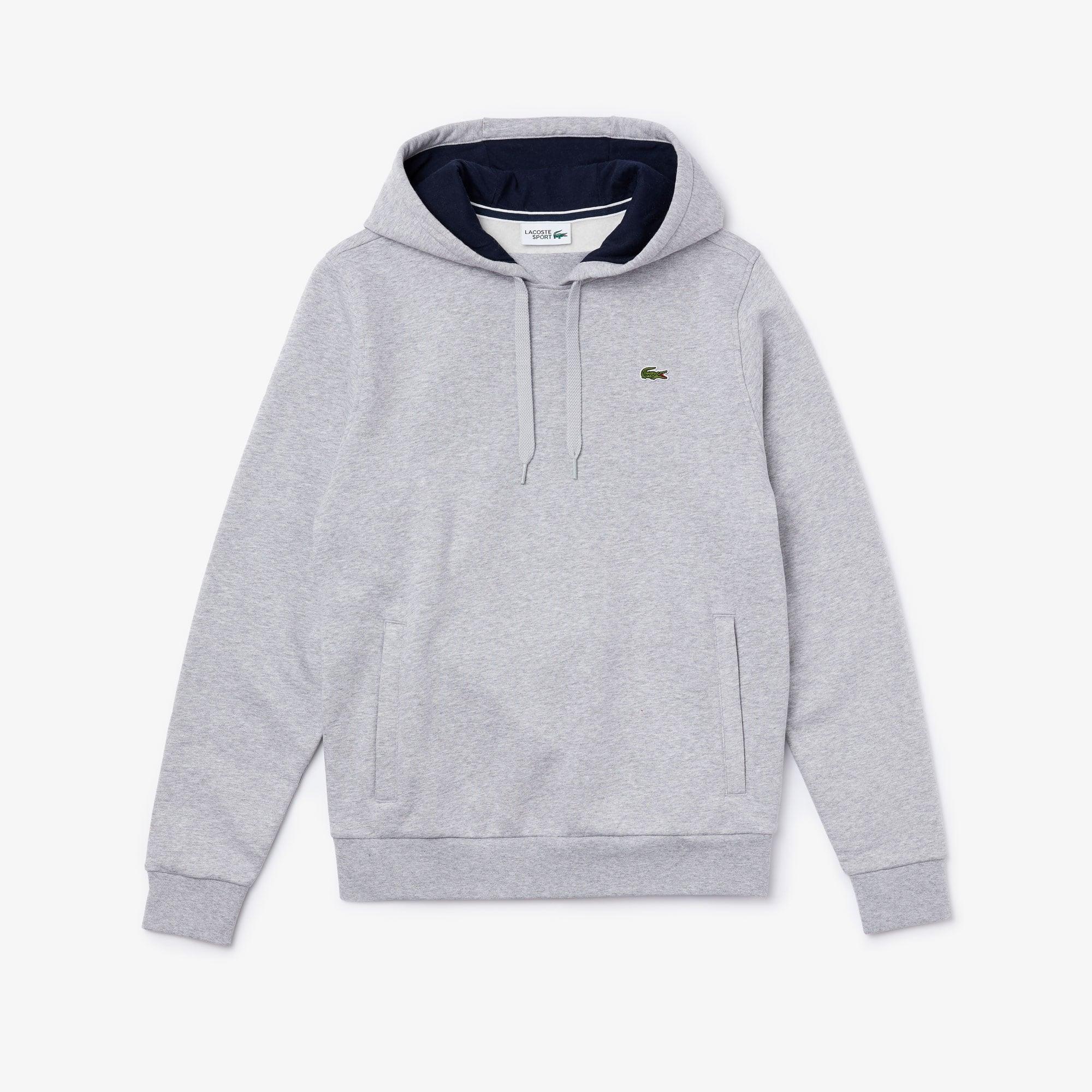 라코스테 Lacoste Mens Sport Hooded Fleece Tennis Sweatshirt,grey chine / navy blue