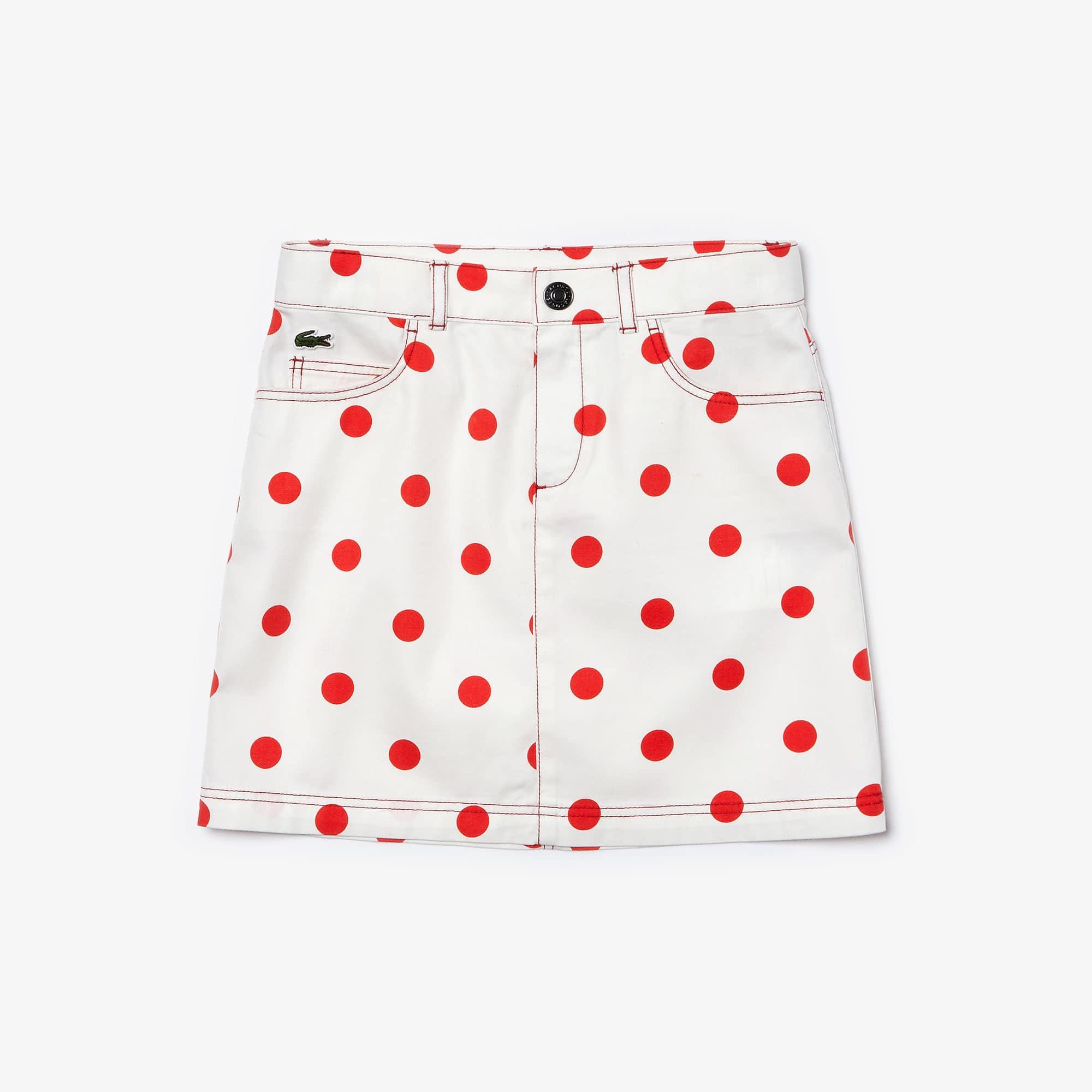 라코스테 Lacoste Girls' Polka Dot Gabardine Skirt,White / Red • X5Y