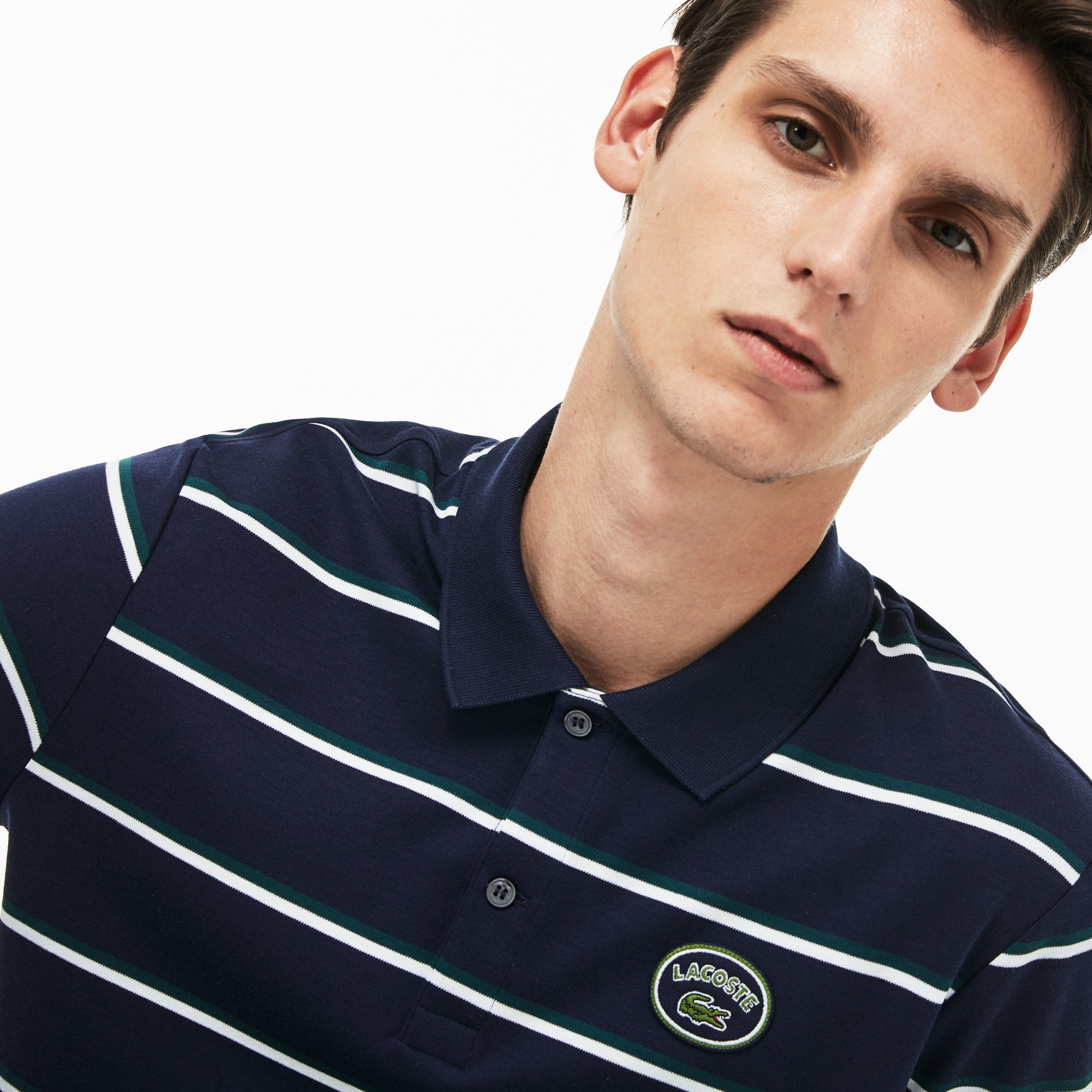 Men's Regular Fit Striped Cotton Interlock Polo