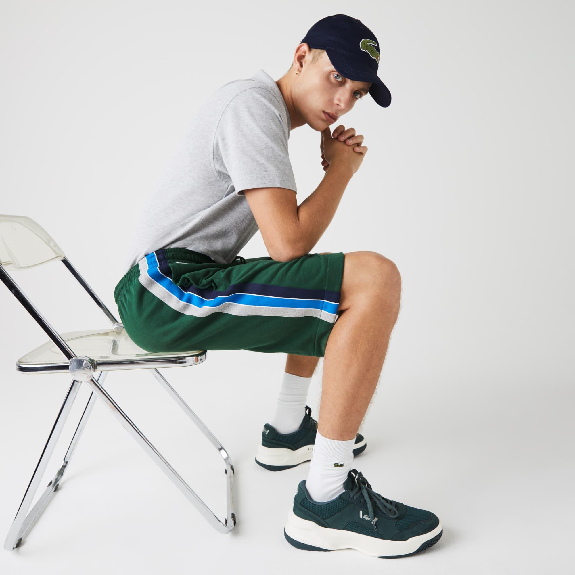 라코스테 Lacoste Mens SPORT Contrast Band Fleece Shorts,Green / Grey Chine / Blue / Navy Blue / White DJ9