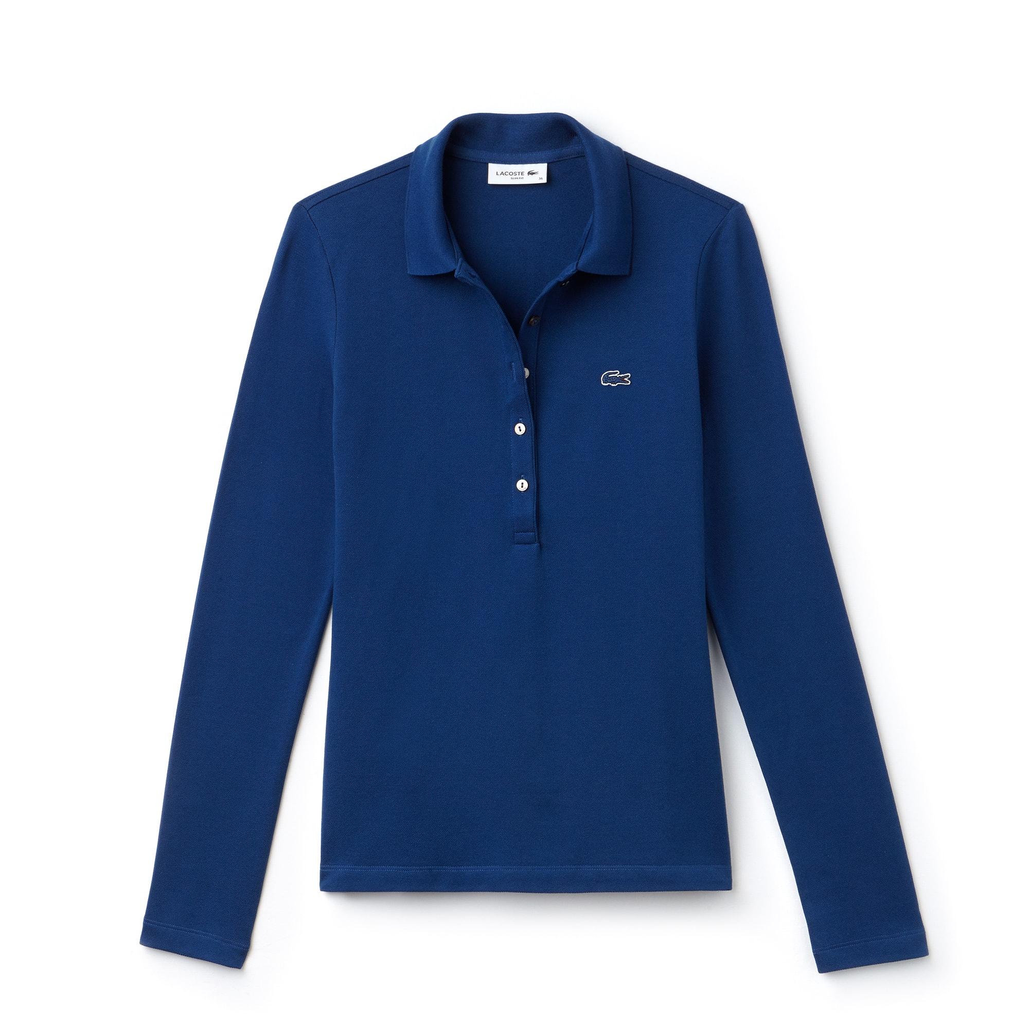라코스테 긴팔 카라티 Lacoste Womens Slim Fit Stretch Mini Pique Polo Shirt,inkwell blue