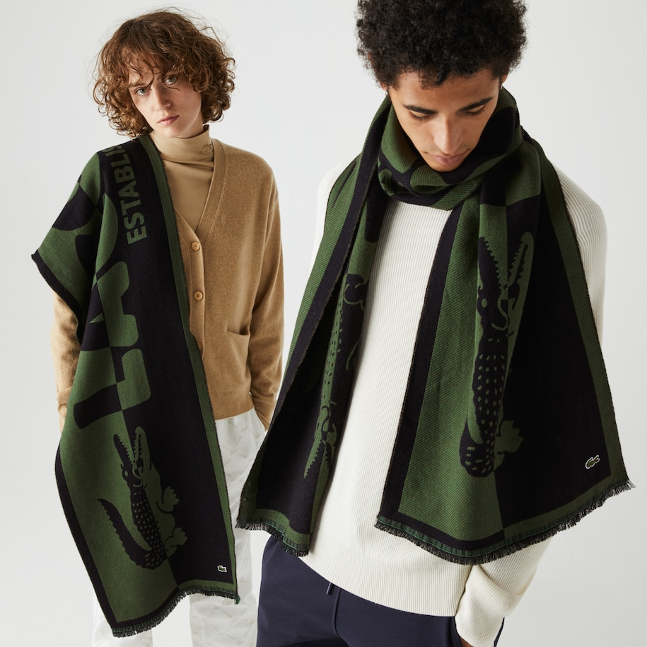 Unisex Lacoste LIVE Two-Tone Wool And Cotton Oversized Scarf
