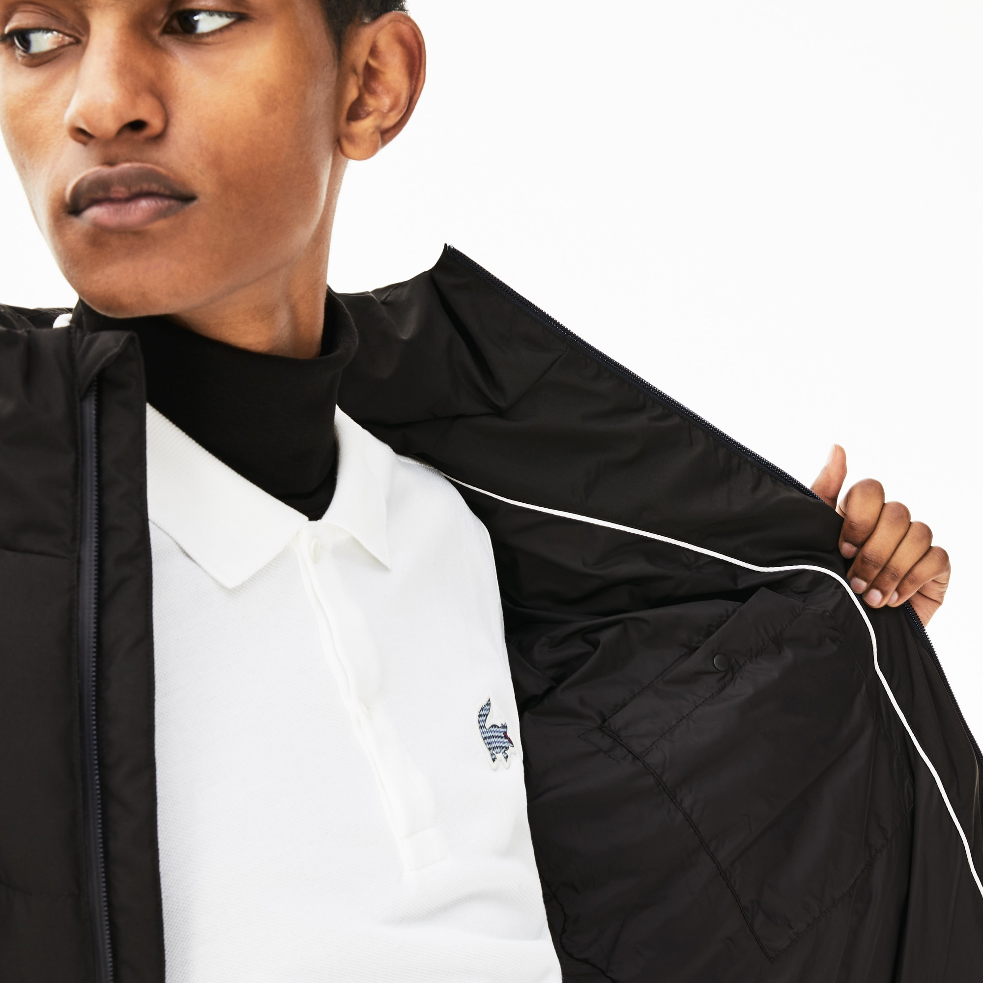 LACOSTE Downs Men's Detachable Hood Quilted Water-Resistant Taffeta Jacket