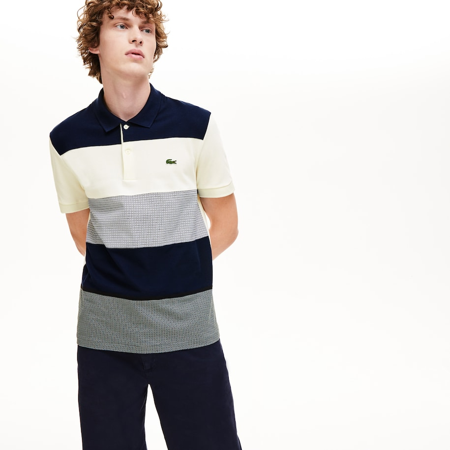 Polo regular fit colorblock bi-material para hombre