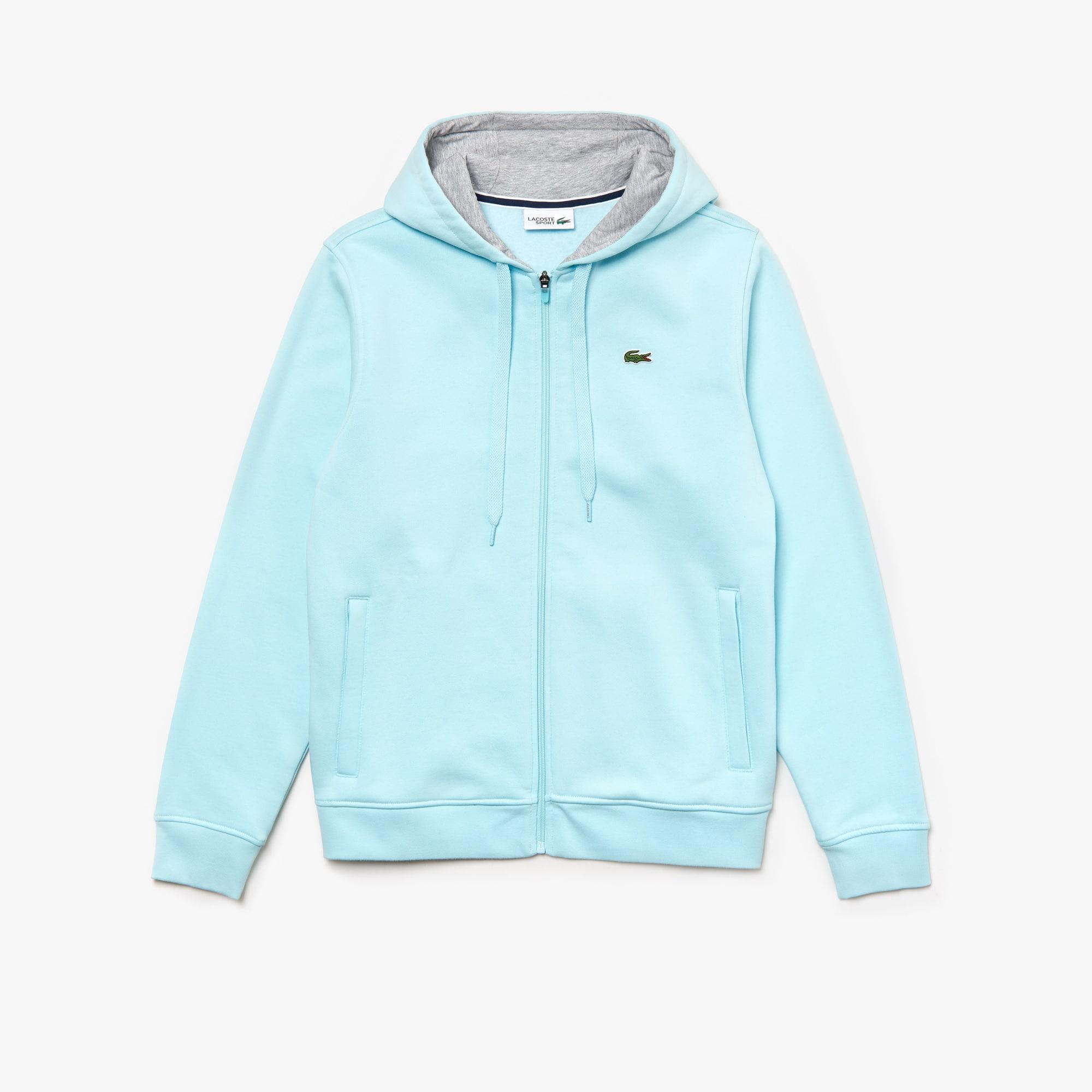 라코스테 Lacoste Mens SPORT Tennis Fleece Zip Up,light blue / grey chine