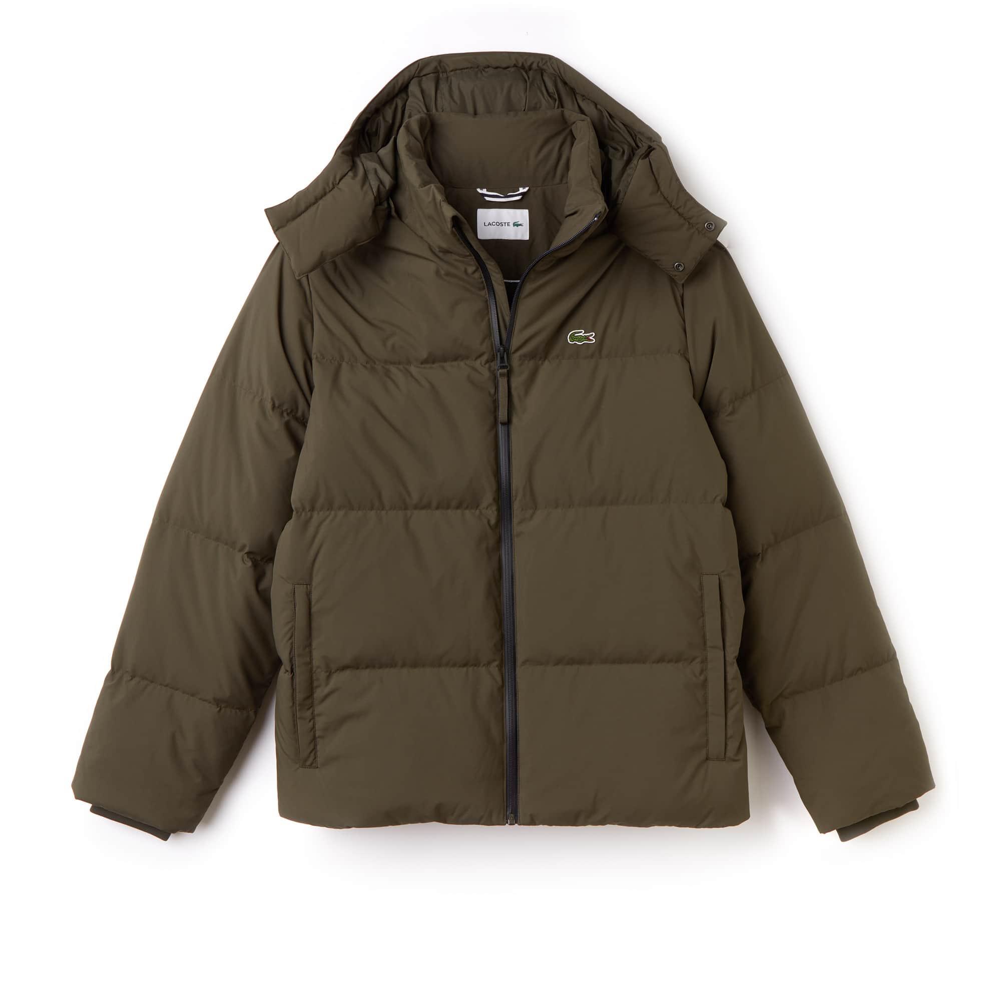 라코스테 Lacoste Mens Detachable Hood Quilted Water-Resistant Taffeta Jacket,baobab green