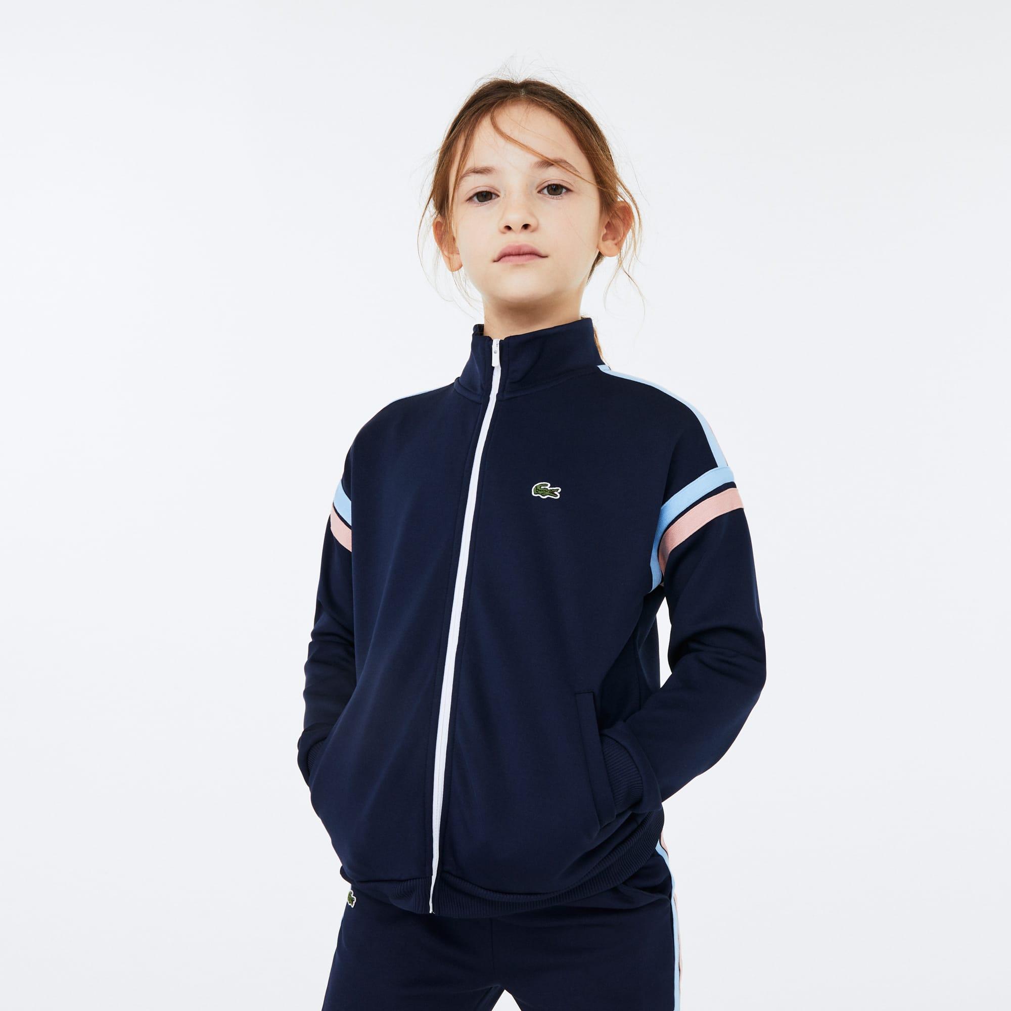 라코스테 Lacoste Girls Striped Band Zippered Sweatshirt,Navy Blue / White / Pink / Blue • ACY