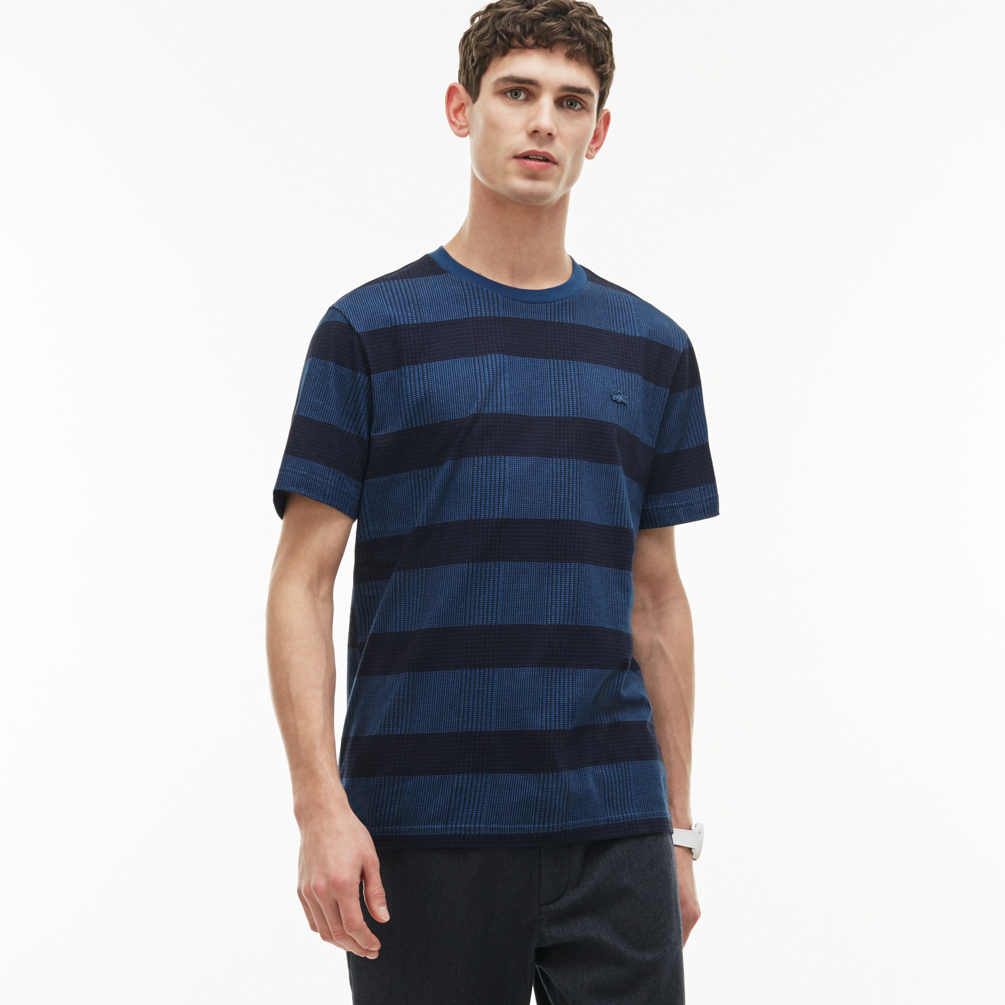 Men's Crew Neck Glen Plaid Jersey T-shirt