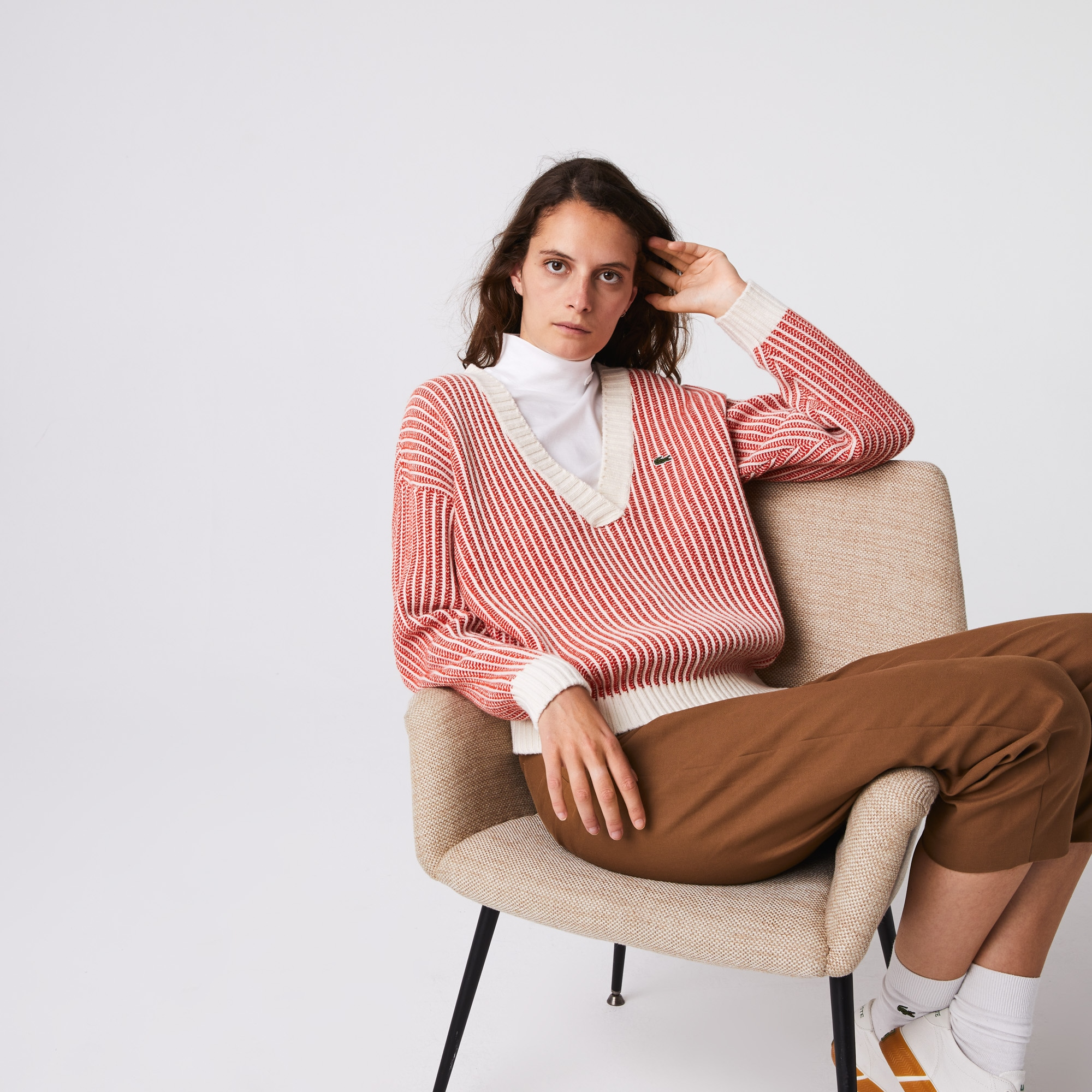 Lacoste Womens Two-Tone Low V-Neck Ribbed Wool Sweater
