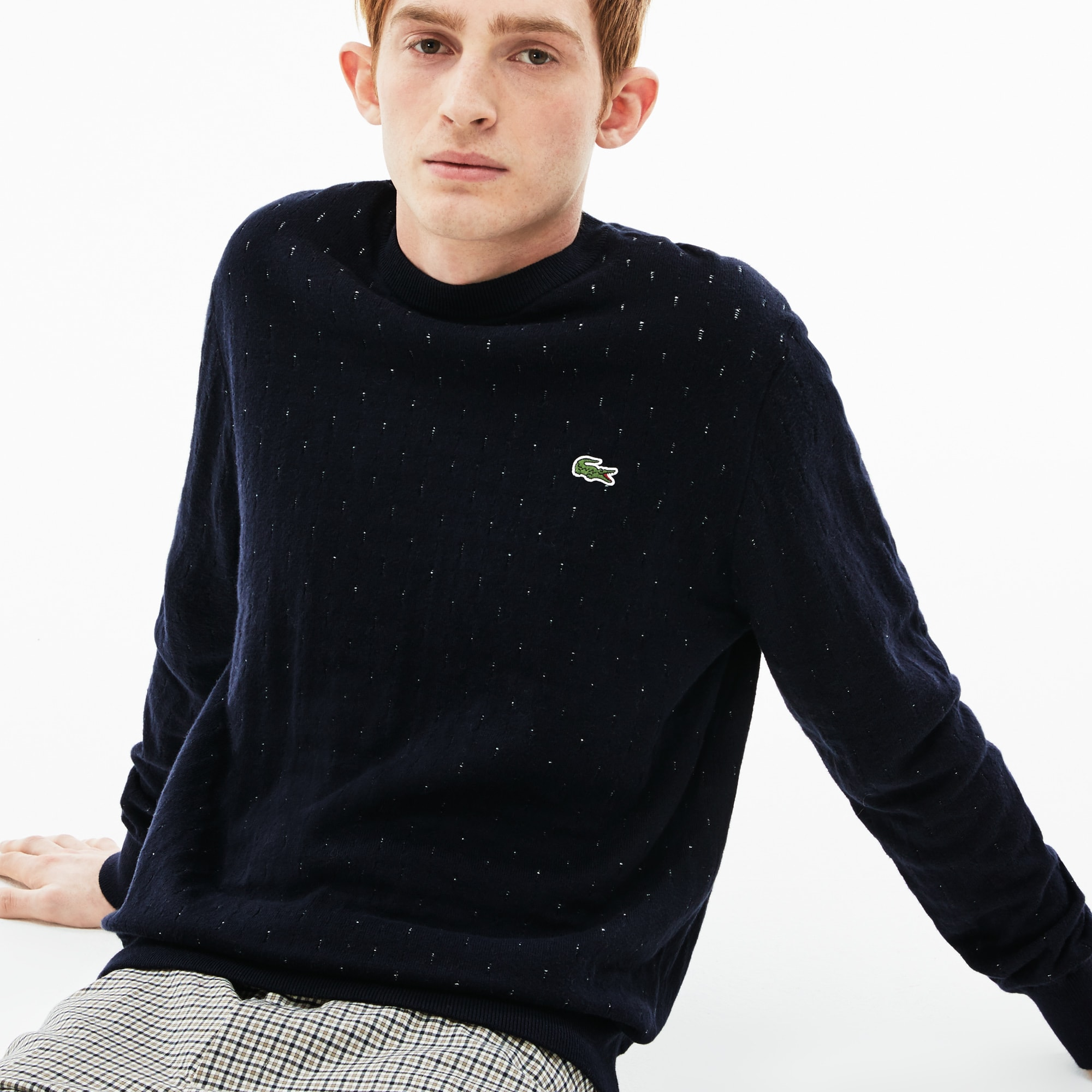 Men's LIVE Crew Neck Cotton And Cashmere Jacquard Sweater