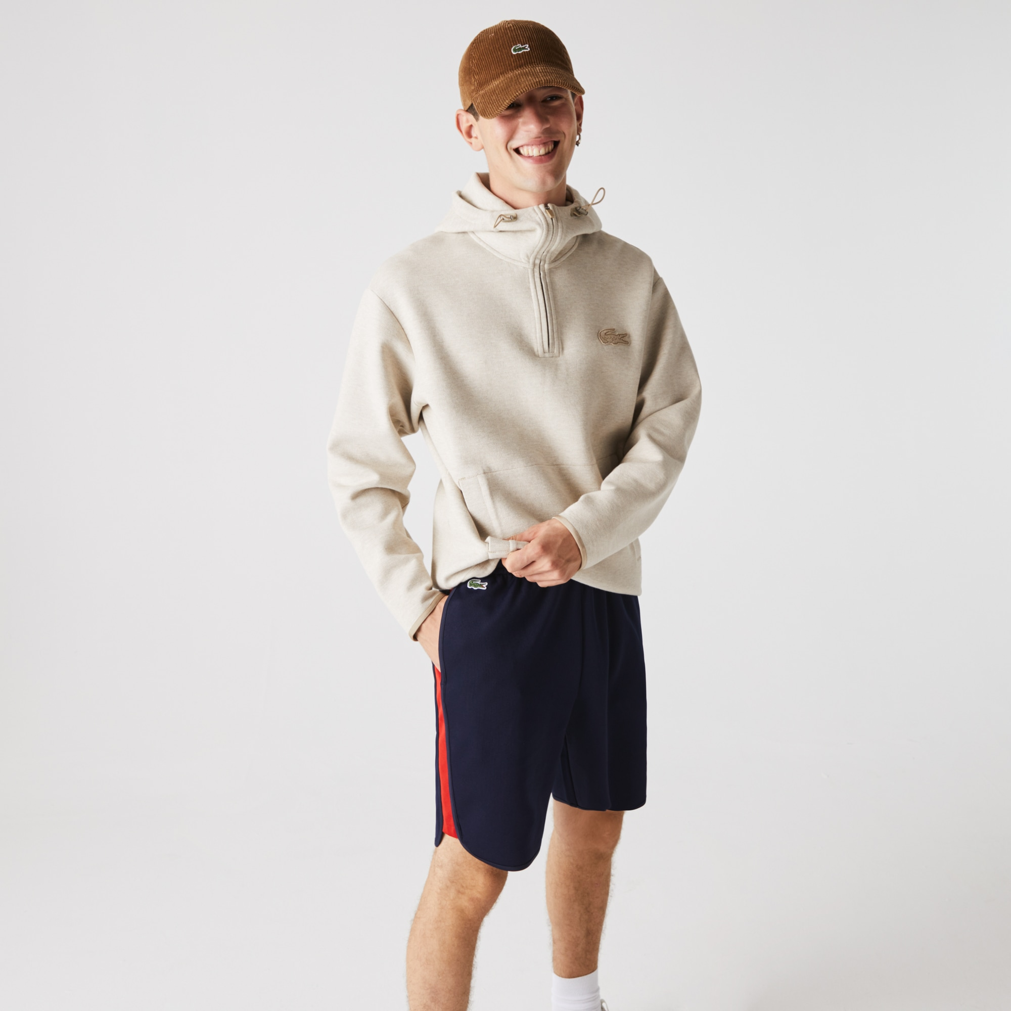 라코스테 스포츠 '랩 미 업 컬렉션' 배색 밴드 반바지 Mens Lacoste SPORT Contrast Bands Cotton Blend Shorts,Navy Blue / Red • 551