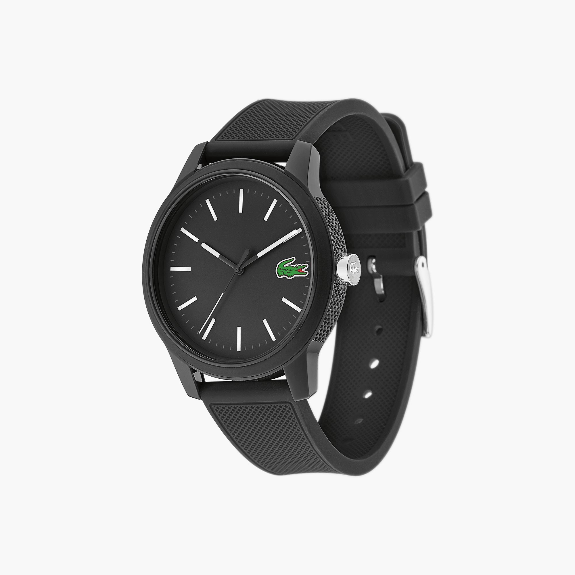 Men S Lacoste 12 12 Watch With Black Silicone Strap Lacoste
