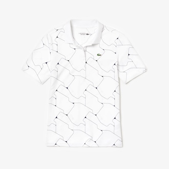 라코스테 스포츠 우먼 폴로 셔츠 Lacoste Womens SPORT Printed Stretch Jersey Golf Polo,White / Navy Blue