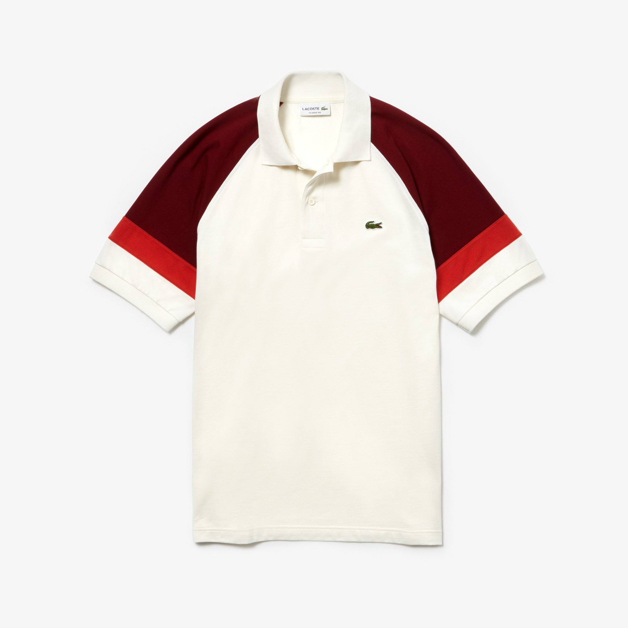 cfee1de3fe Men's L.12.12 Raglan Sleeved Piqué Polo in White / Bordeaux / Red