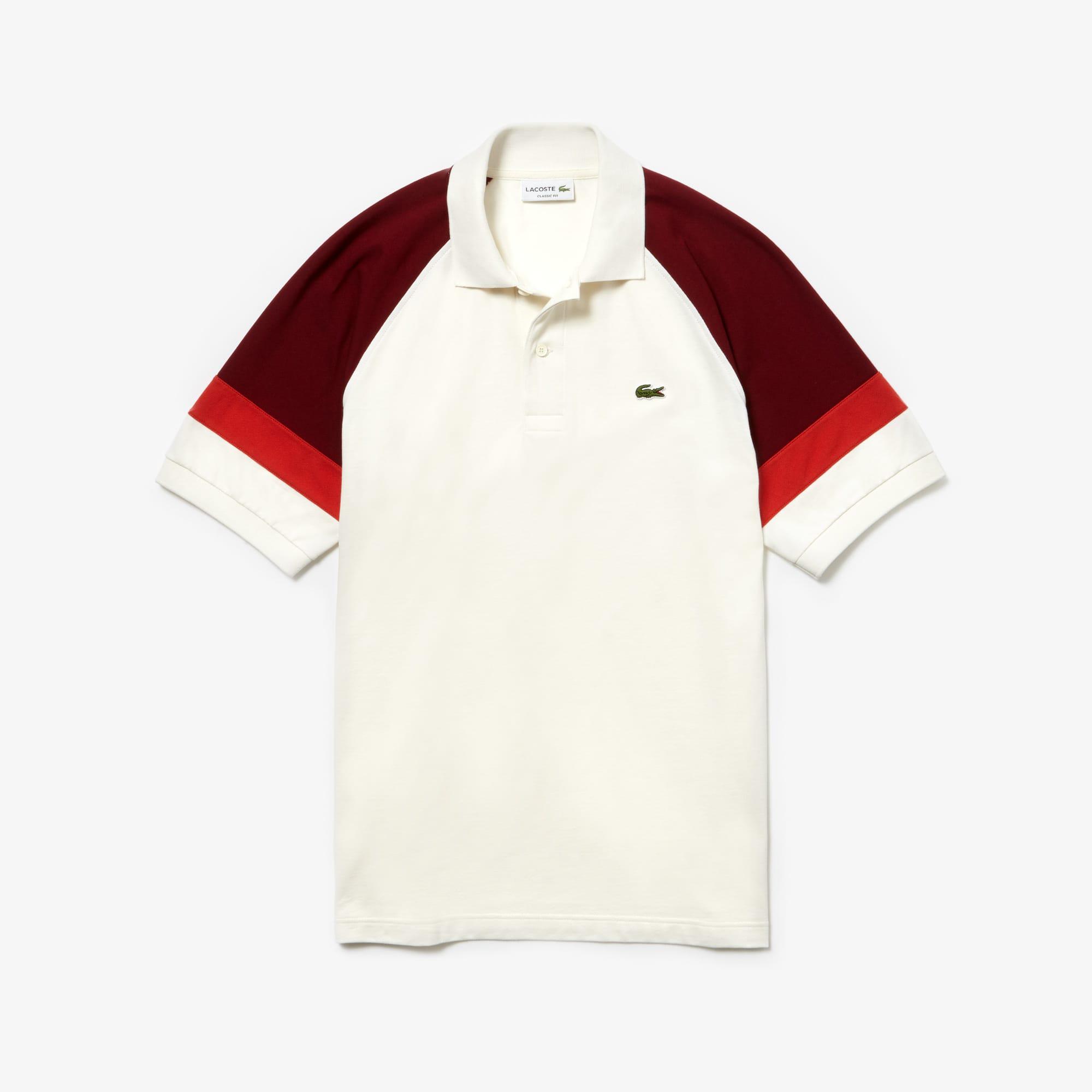 [L.12.12 컬렉션] 라코스테 반팔 폴로Lacoste Mens L.12.12 Raglan Sleeved Pique Polo,White / Bordeaux / Red