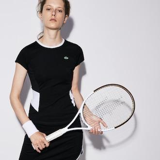 라코스테 우먼 스포츠 반팔티 Lacoste Womens SPORT Crew Neck Stretch Jersey Tennis T-shirt,Black / White / White