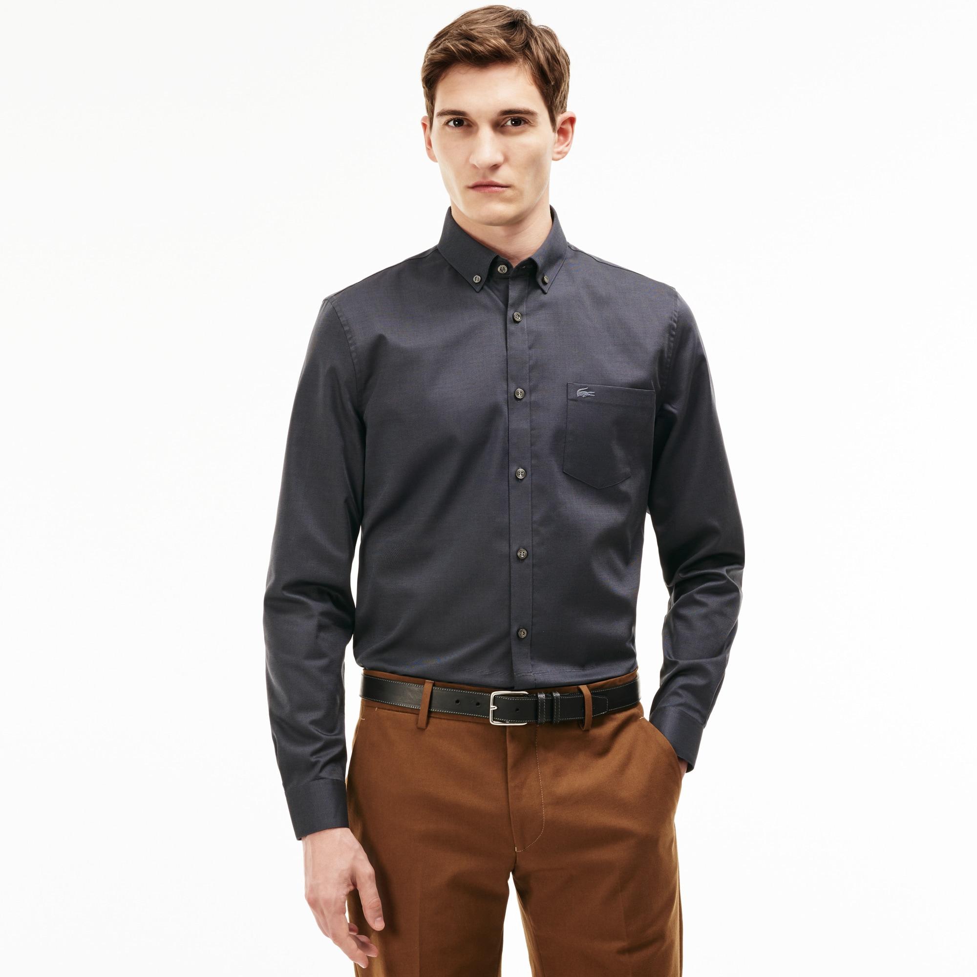 Men's Regular Fit Cotton Mini Piqué Shirt