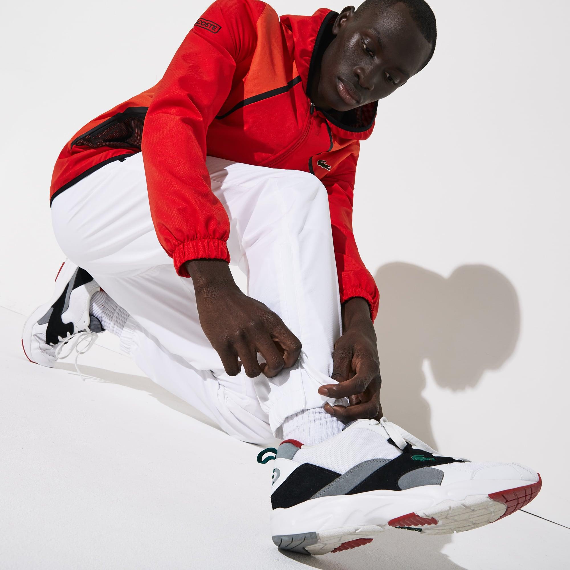 라코스테 Lacoste Men's SPORT Mesh Inset Hooded Colorblock Tracksuit,Red / White / Black Y55