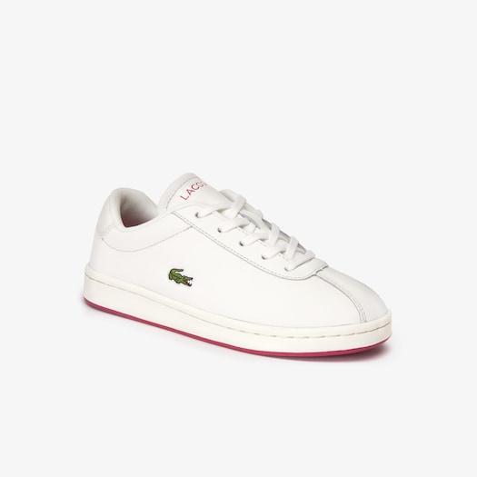 라코스테 운동화 Lacoste Kids Masters Leather Sneakers,OFF WHITE/DARK PINK