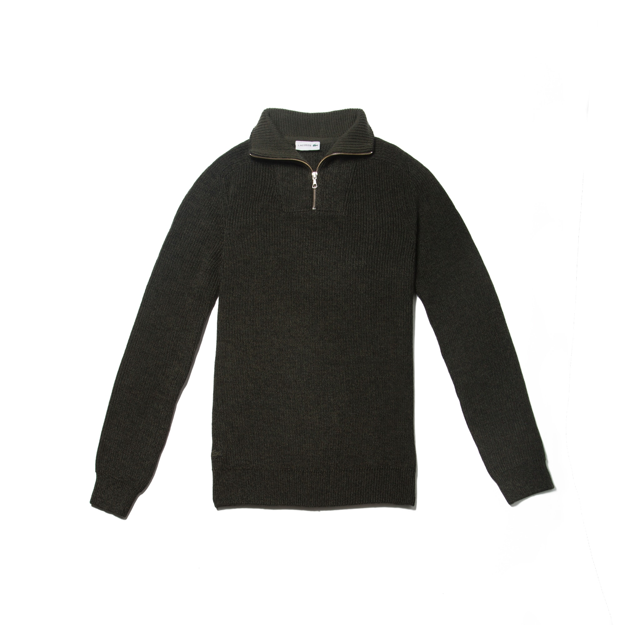 Men's Zippered Stand-Up Collar Ribbed Wool Sweater