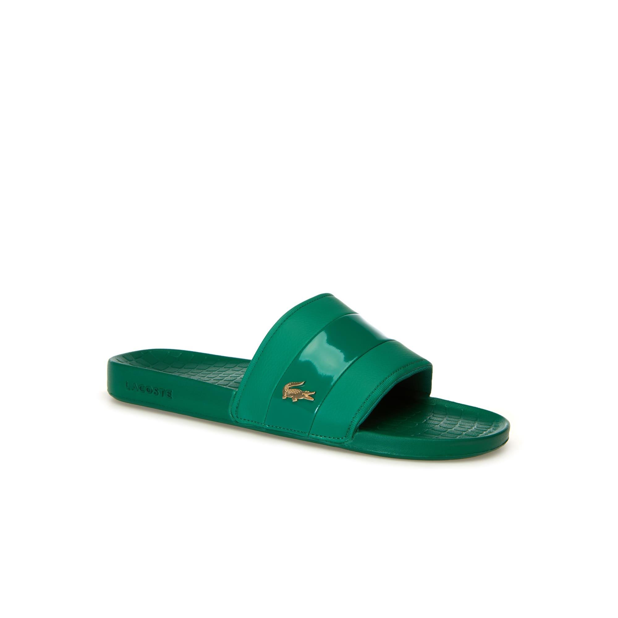 라코스테 Lacoste Men's Fraisier Leather Slides,green/gold
