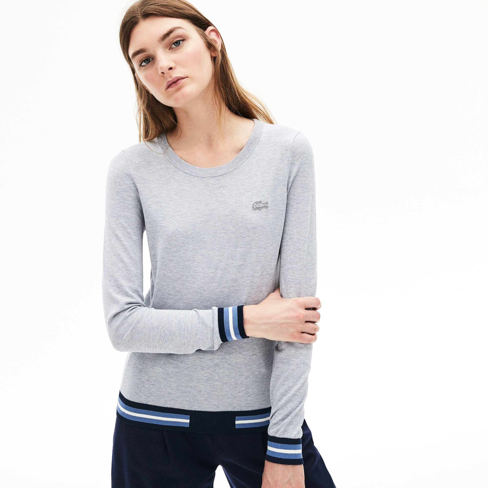 Women's Crew Neck Contrast-Stripe Silk and Cotton Sweater