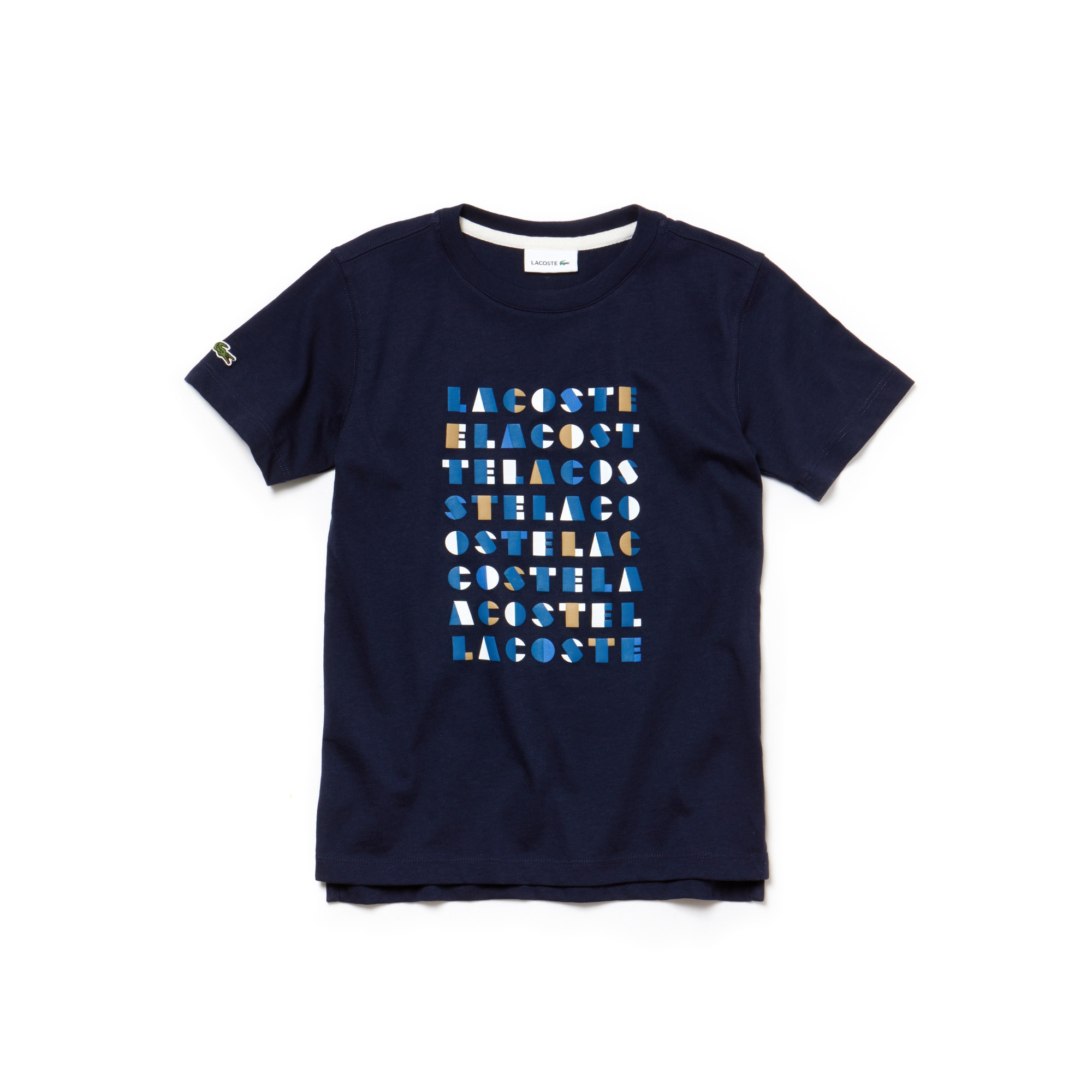 Boys' Crew Neck Graphic Lettering Cotton Jersey T-shirt