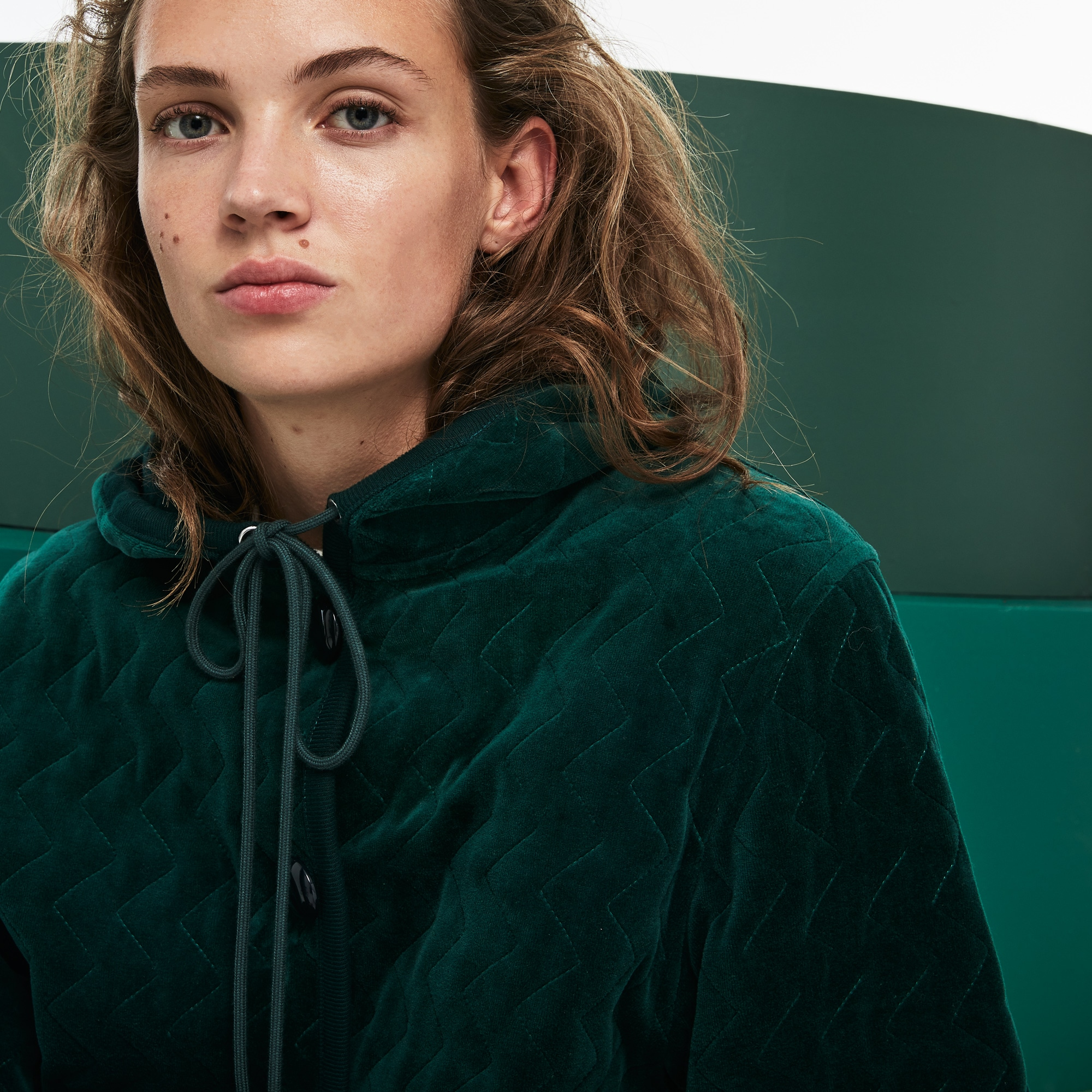 Women's Fashion Show Hooded Oversized Quilted Velour Sweatshirt
