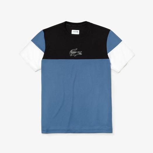 라코스테 스포츠 티셔츠 Lacoste Mens SPORT Technnical Pique T-shirt,Black / Blue / White - 6WB
