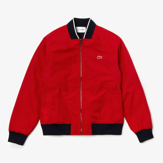 라코스테 Lacoste Mens Reversible Lightweight Cotton Bomber,Red / Red / Navy Blue - 5TV (Selected colour)