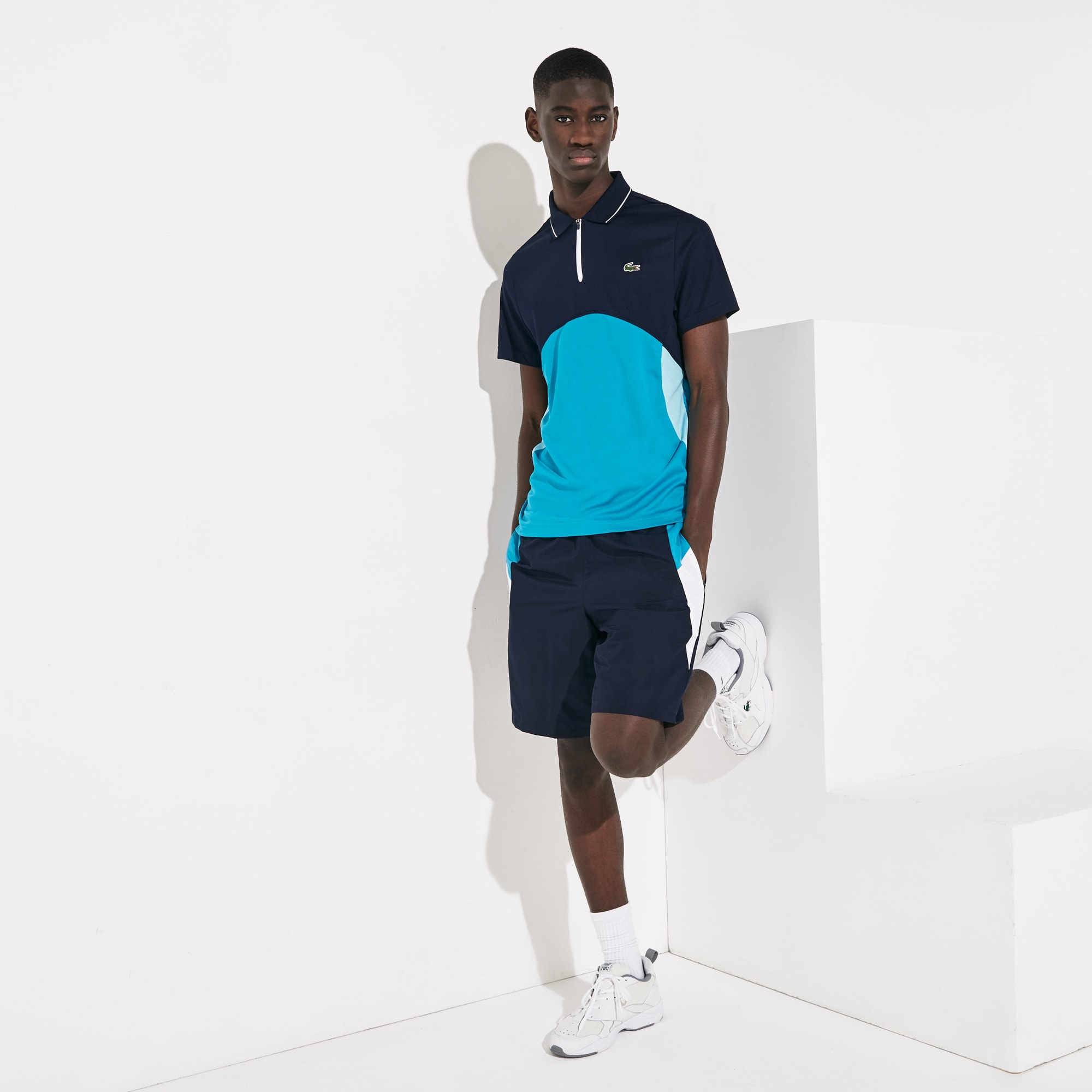 라코스테 Lacoste Mens SPORT Ultra-Dry Pique Zip Tennis Polo Shirt,Navy Blue / Turquoise / White - RWP (Selected colo