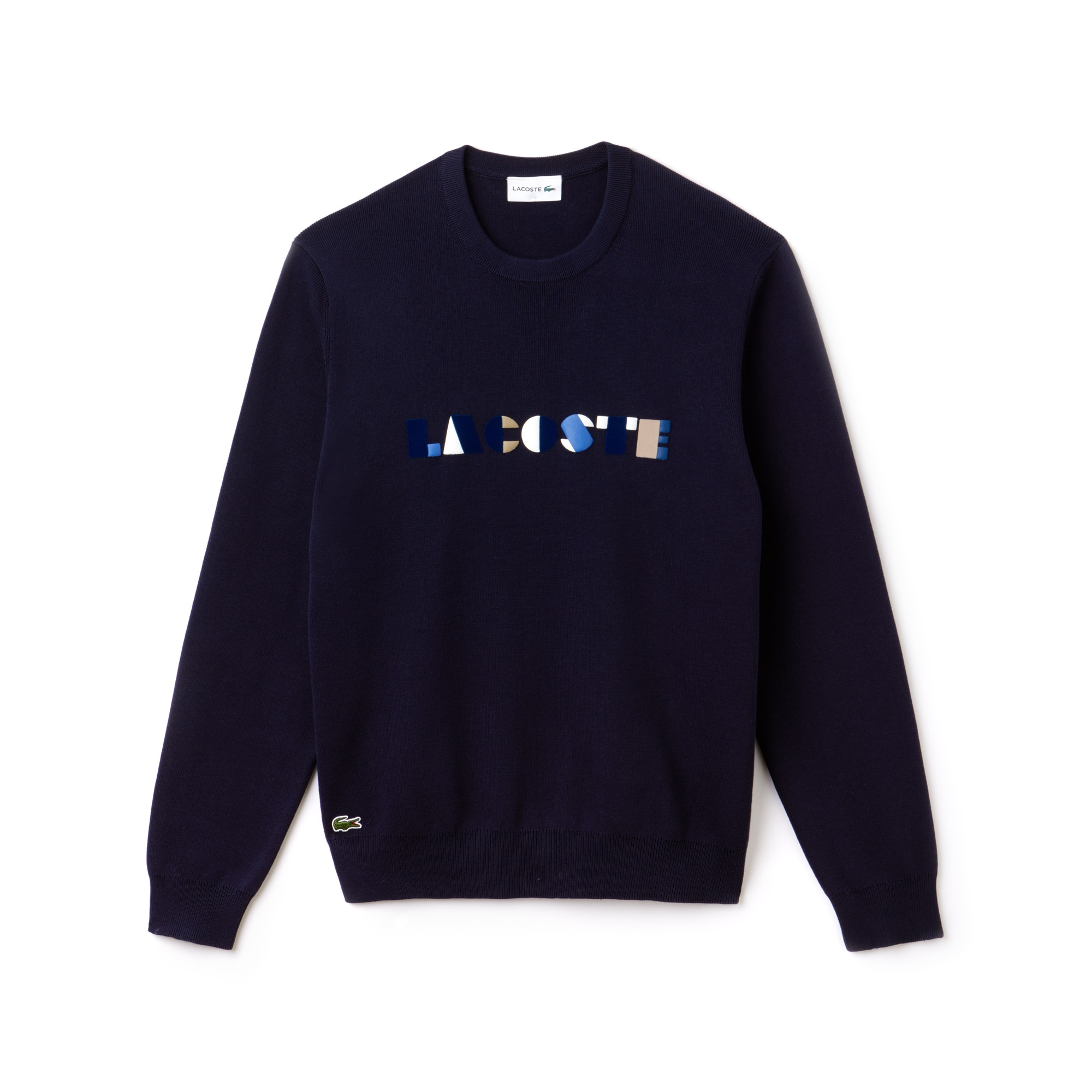 Men's Crew Neck Lettering Ribbed Pima Cotton Sweater