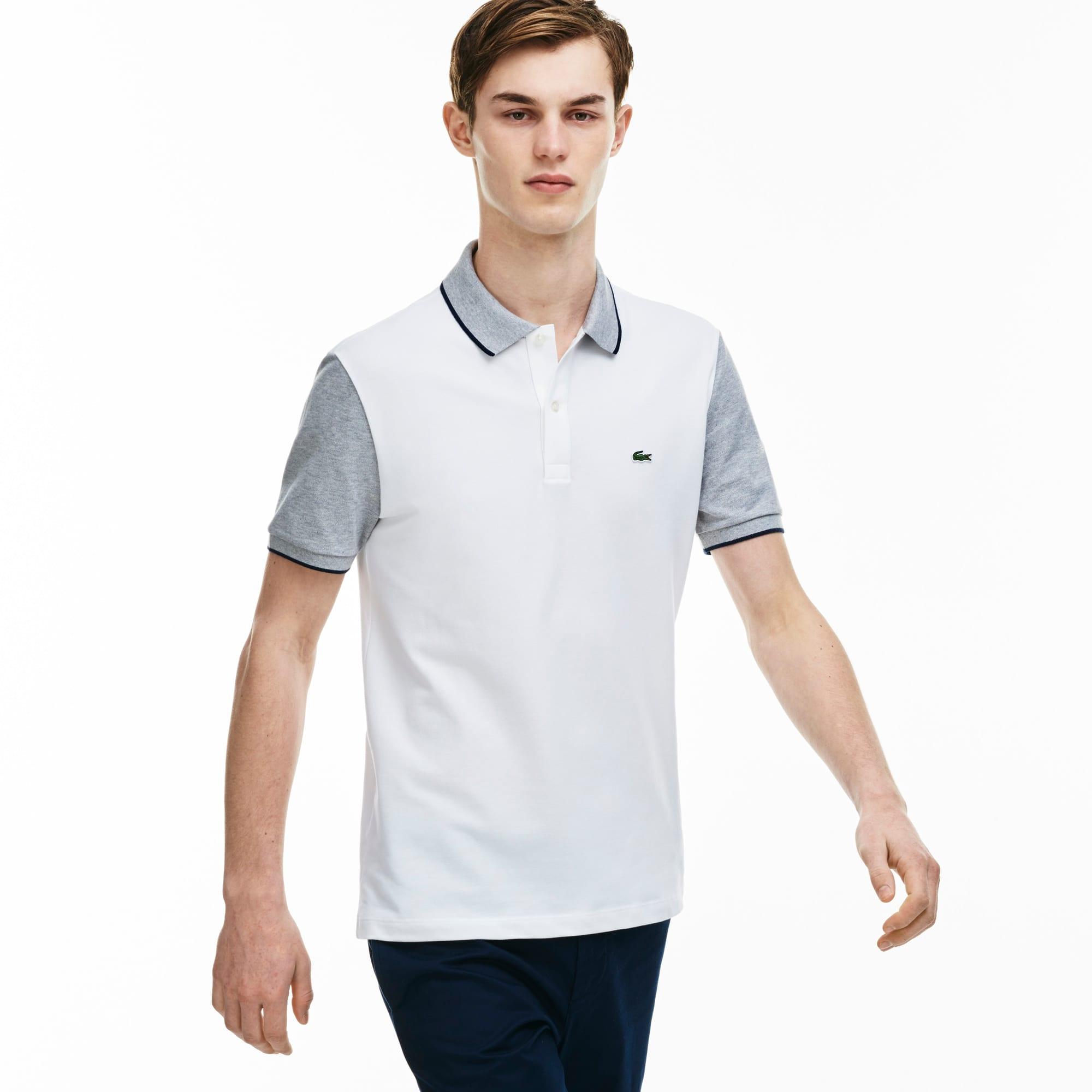 Men's Slim Fit Contrast Sleeves Stretch Piqué Polo Shirt