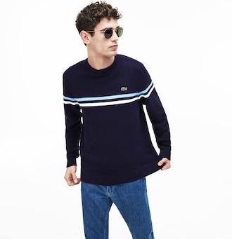 라코스테 Lacoste Mens Made In France Cotton Sweater,Navy Blue / White / Light Blue