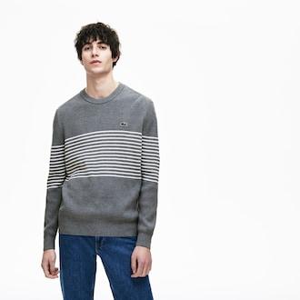 라코스테 Lacoste Mens Ribbed Crew Neck Sweater,Grey Chine / White