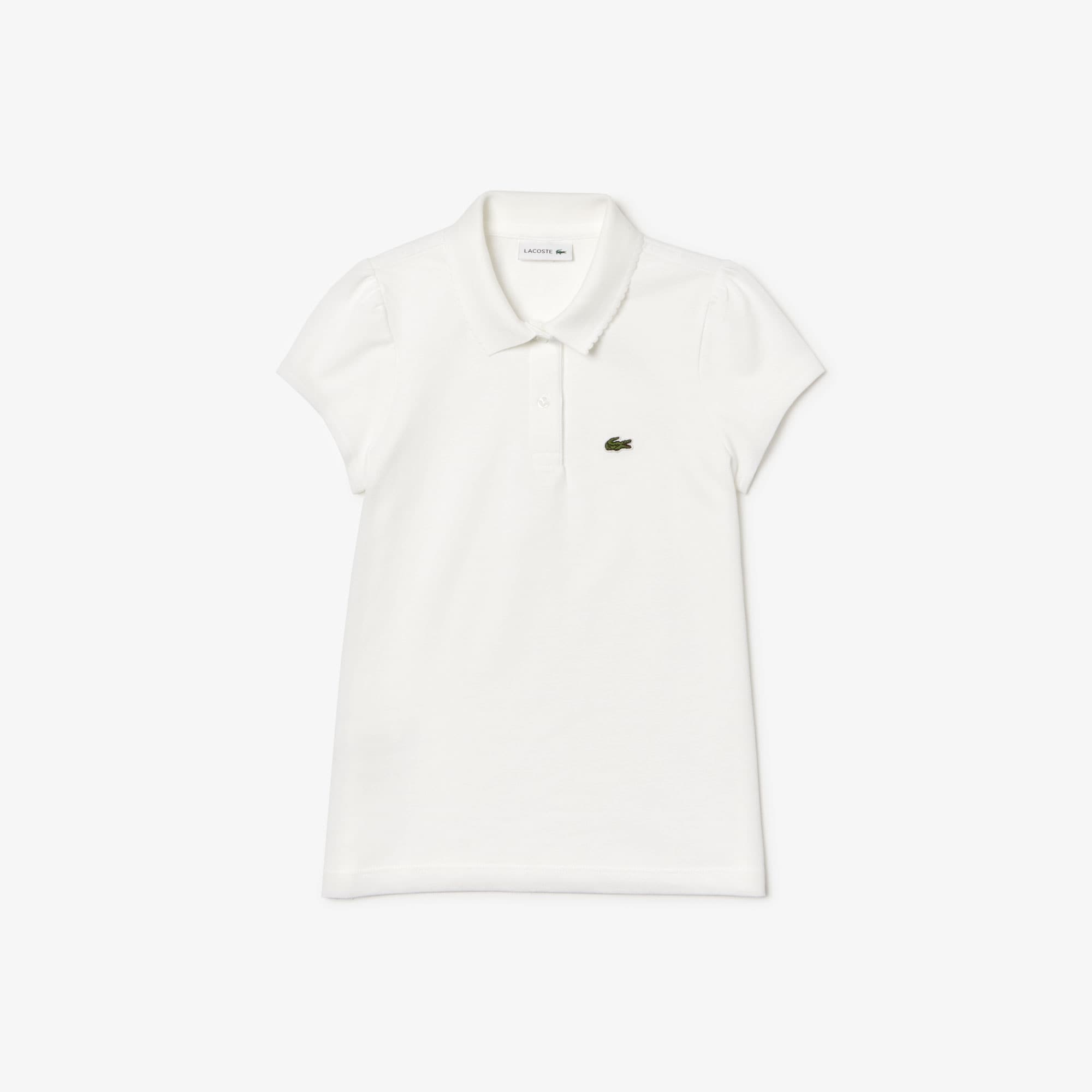 Girls' Scalloped Collar Mini Piqué Polo